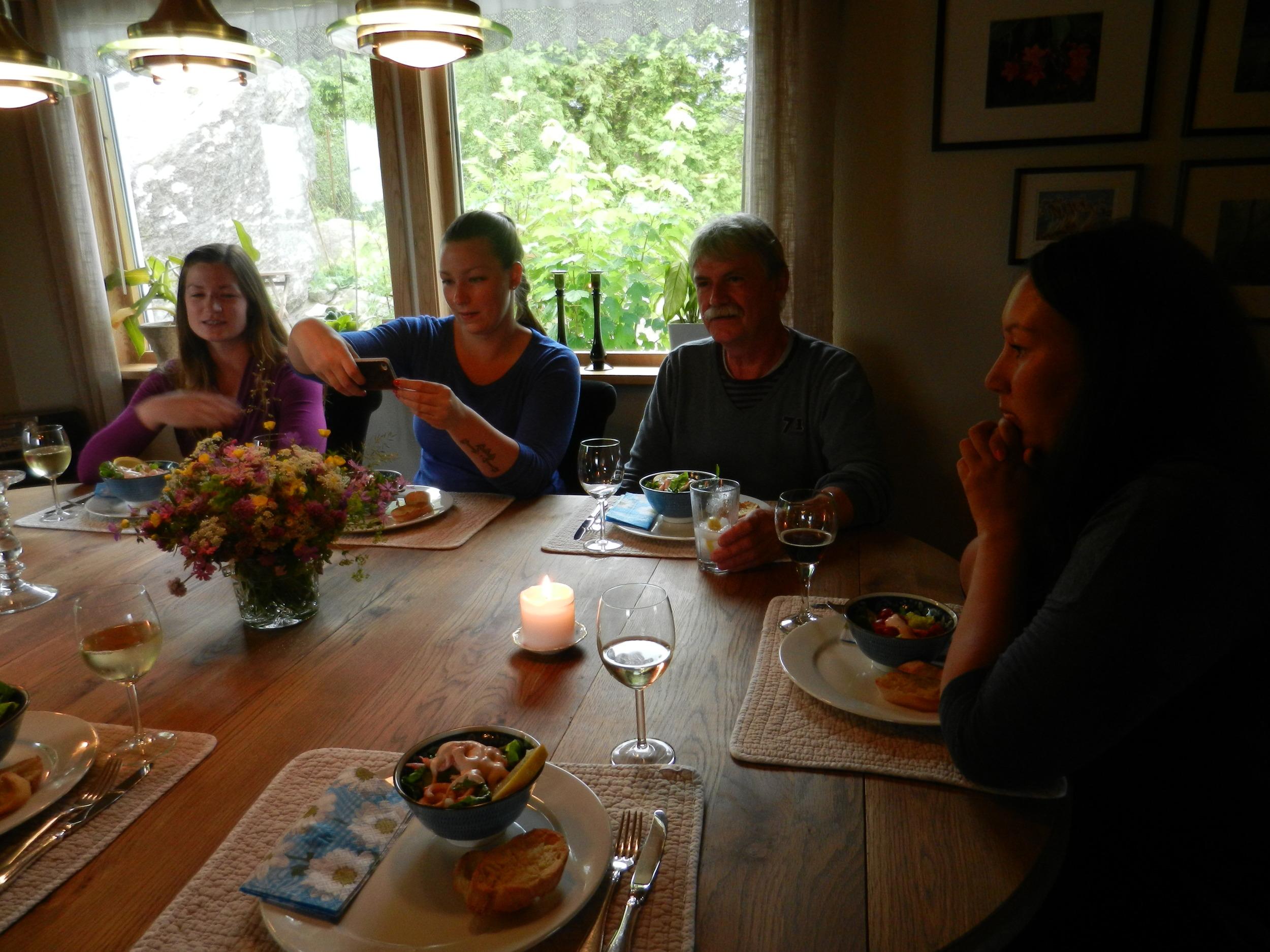 """Supper with my Norwegian """"family"""" :) in Skudeneshavn, Norway."""