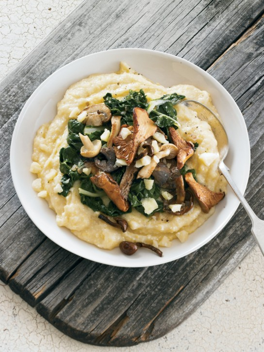 Polenta with white cheddar, chard, and wild mushrooms
