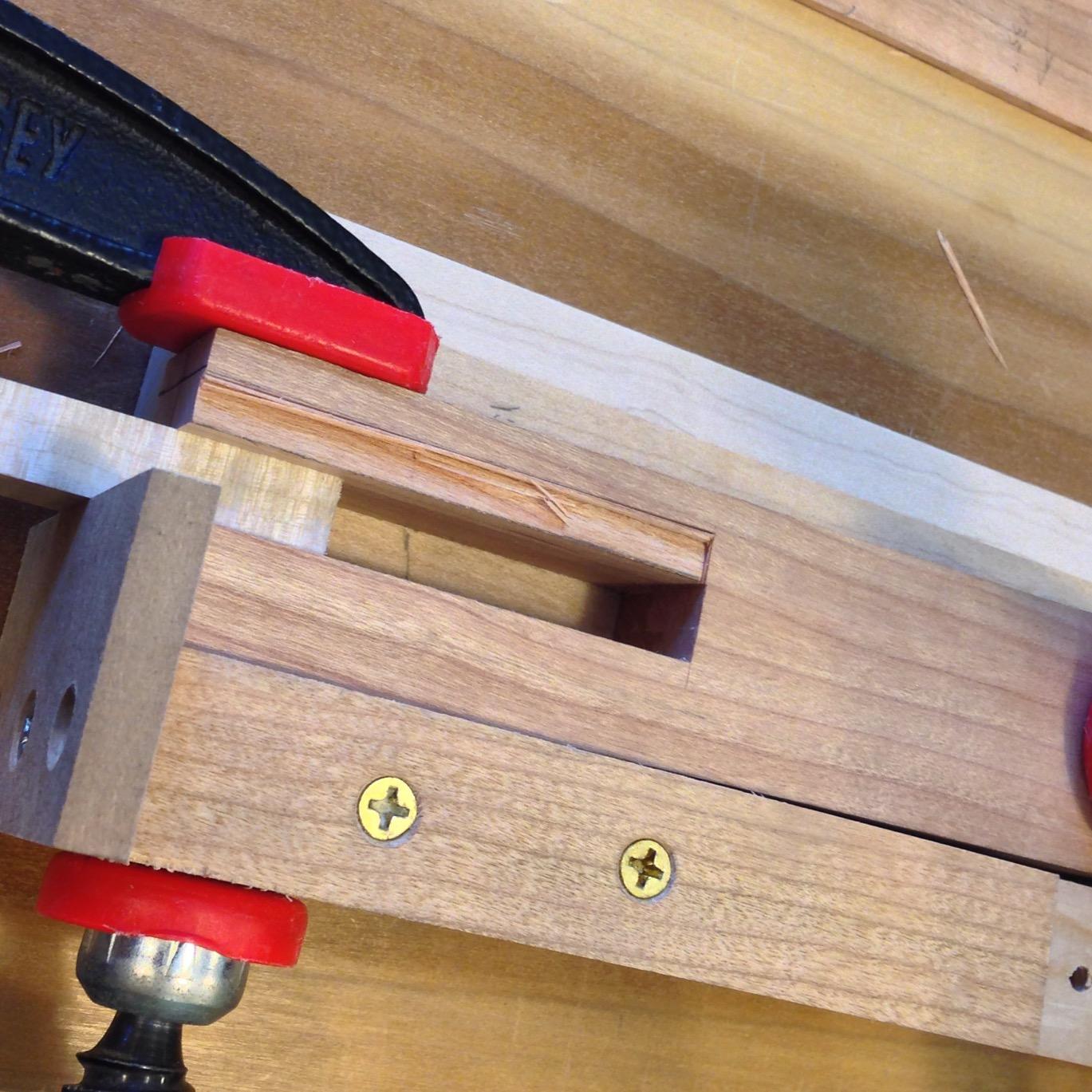hand cut joinery in table leg.JPG