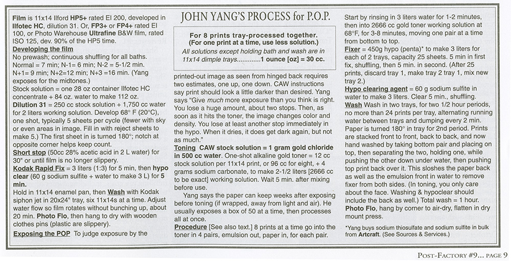 John Yang's Process for P.O.P. printed with his interview in  Post-Factory Photography #9