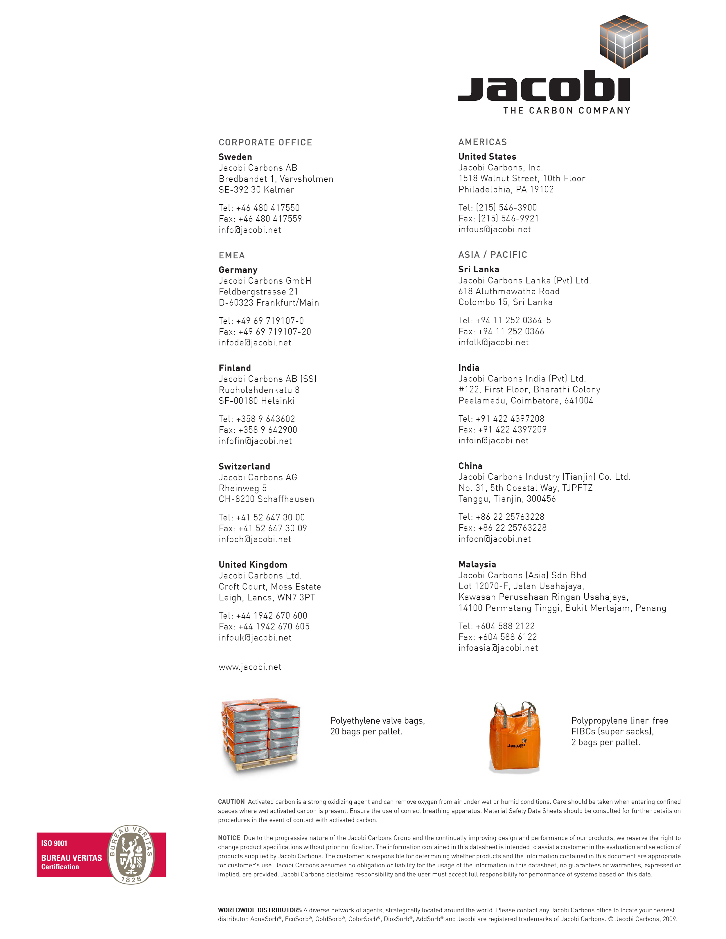 Back of every sheet, showing all of the office locations and contact information.