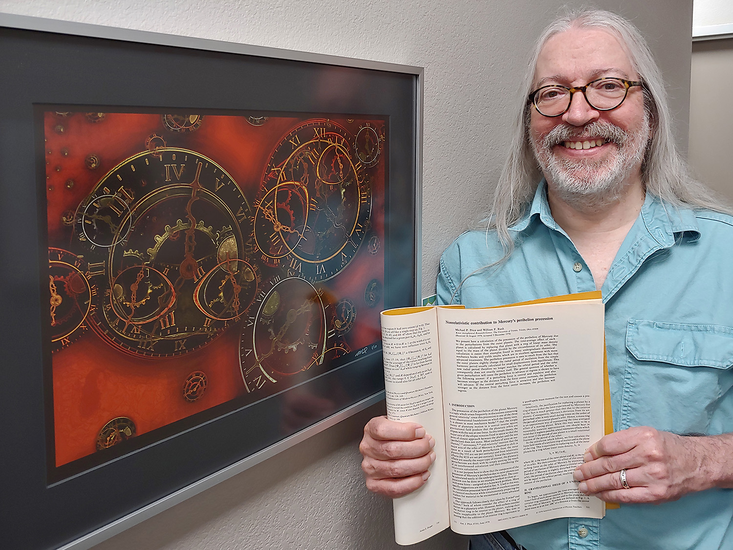 Holding my physics journal article next to my framed piece titled, Schiele's Clocks (Red Variant).
