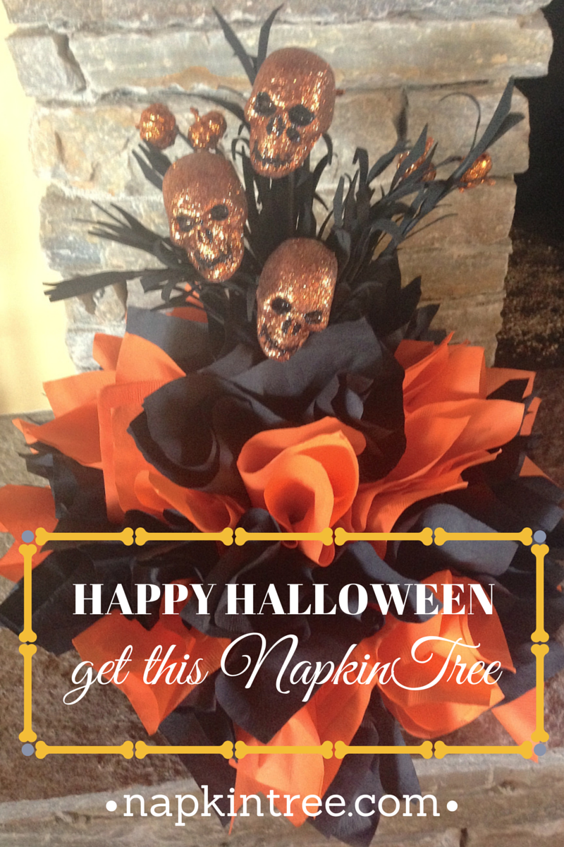 Try a Halloween themed NapkinTree for your table top.  Scary skulls and orange and black napkins.