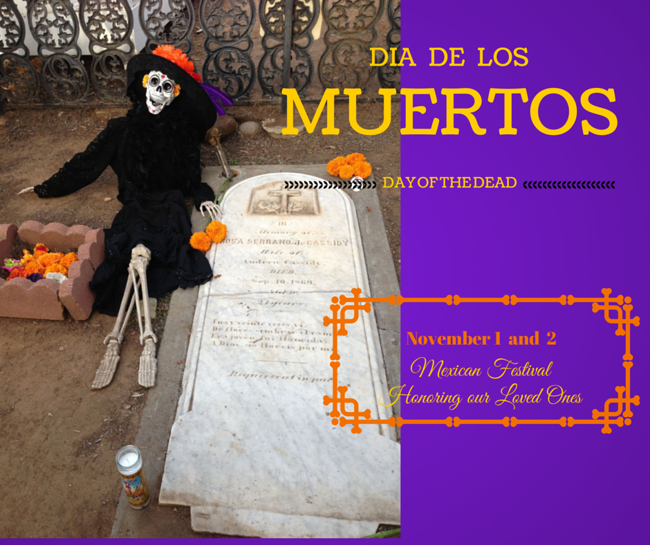 In Old Town, San Diego, CA a gravesite at the Day of the Dead Celebration, November 1 and 2.
