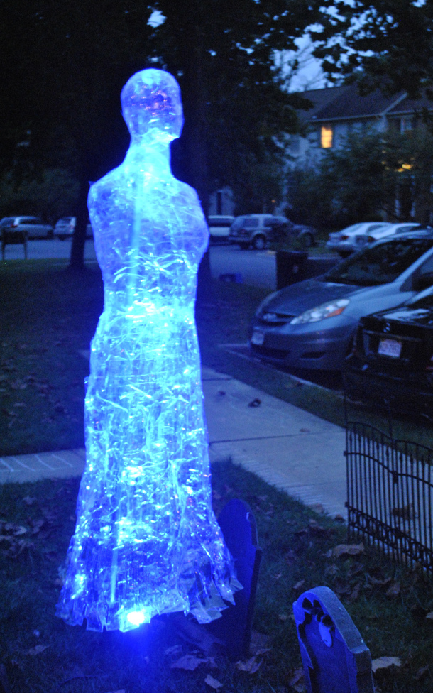 There is something very creepy about this ghost made out of packing tape.