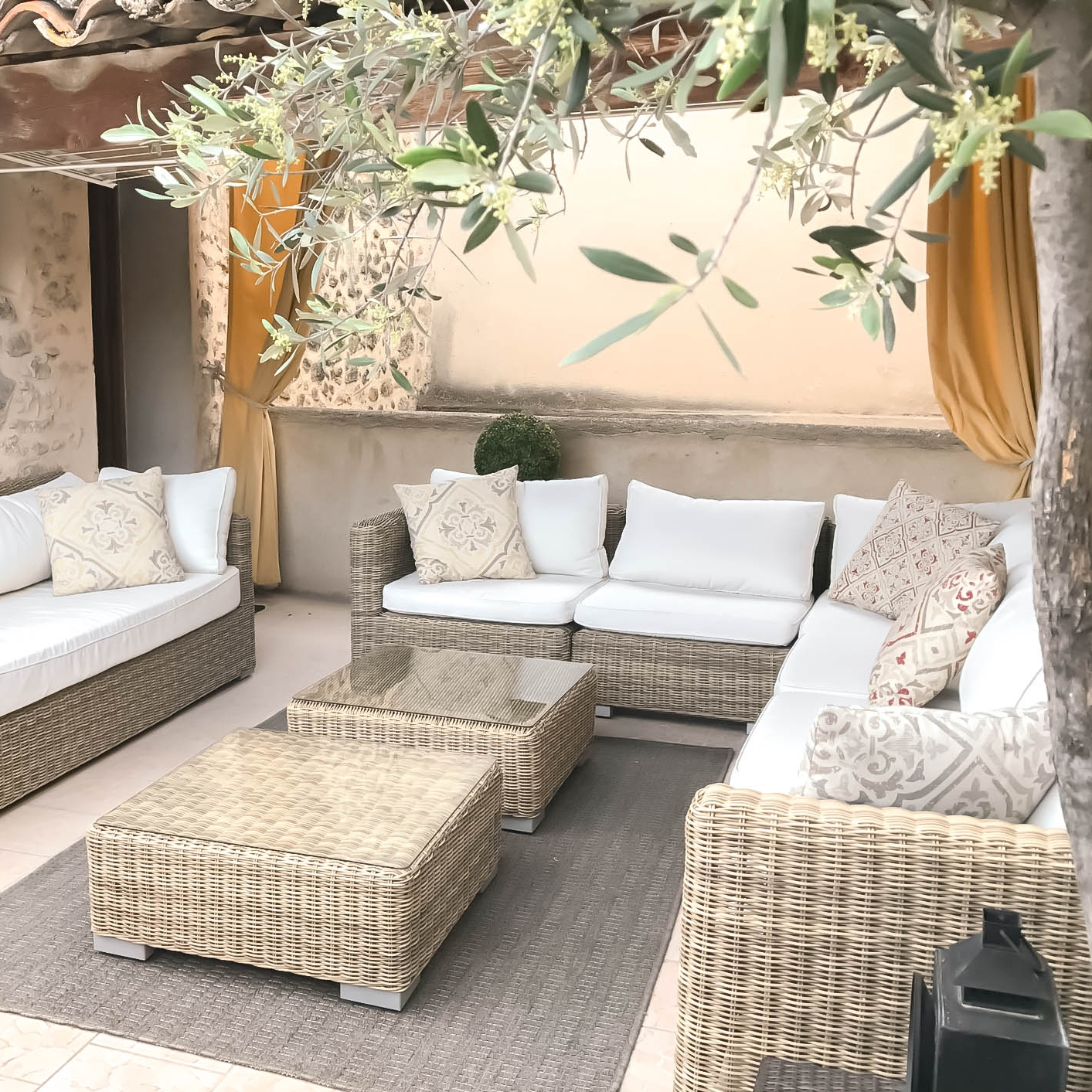 Outdoor patio area in rental property in Provence, France