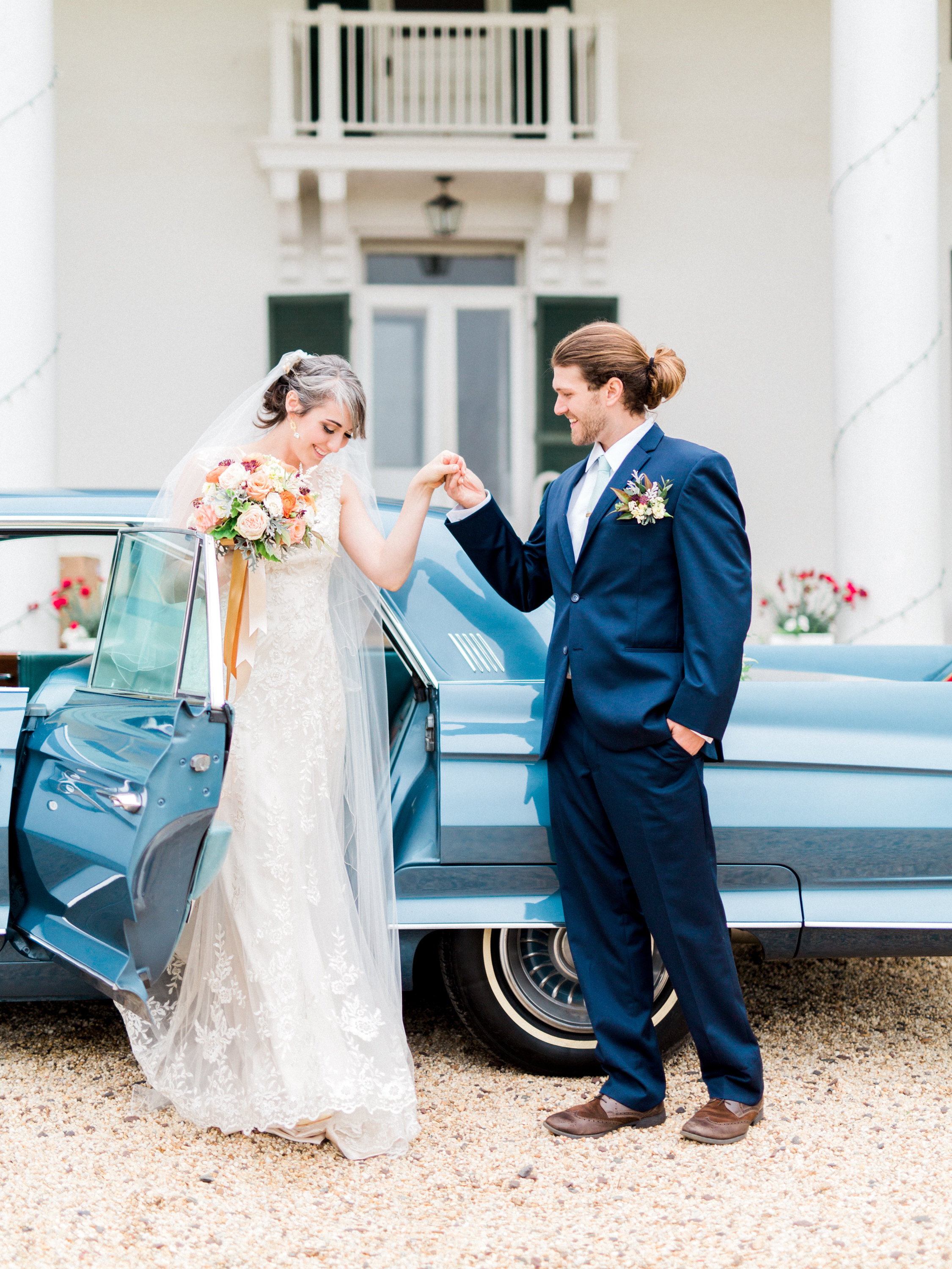 Wedding Arrival in Classic Car