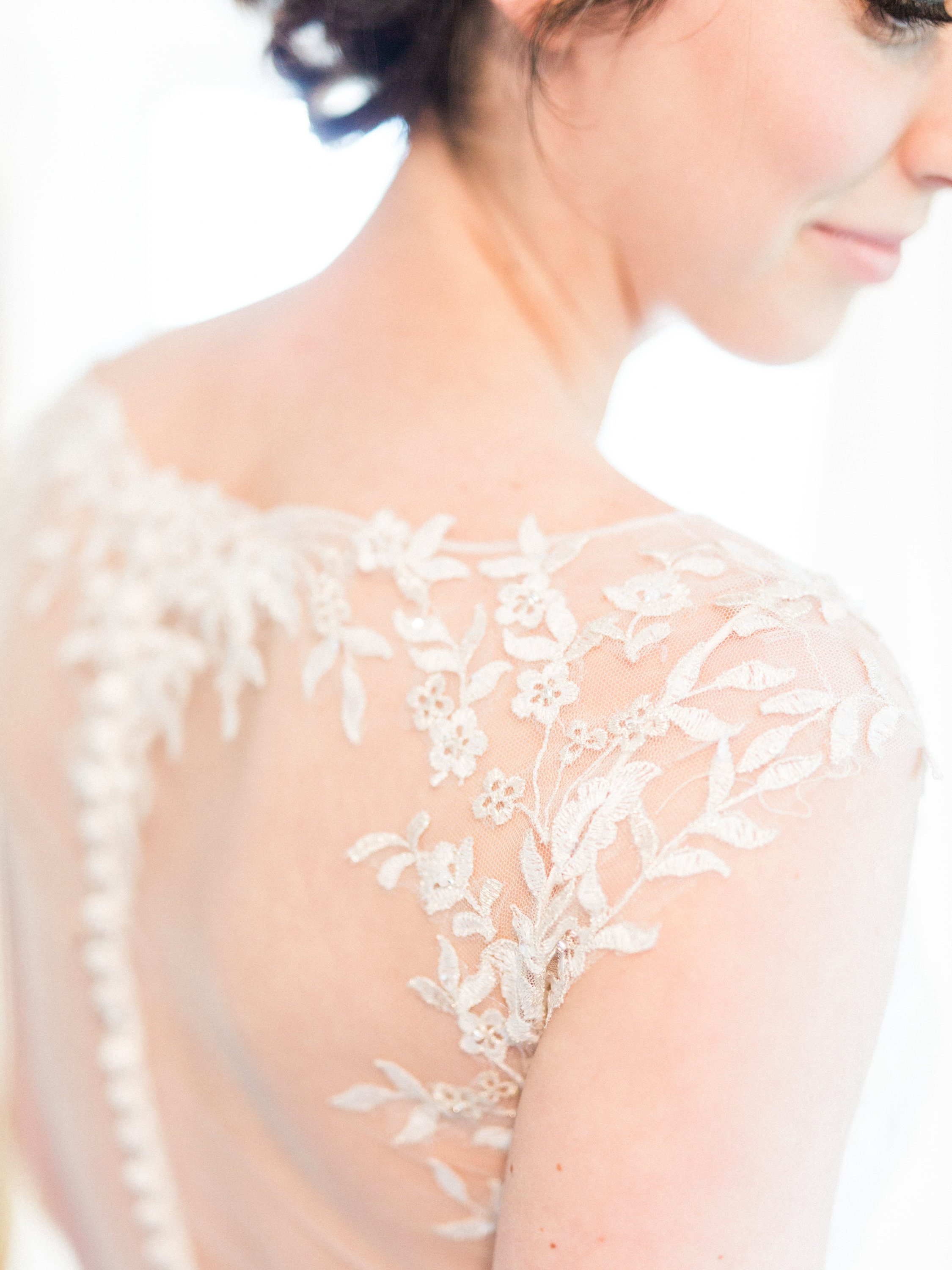 Bridal gown with lace back
