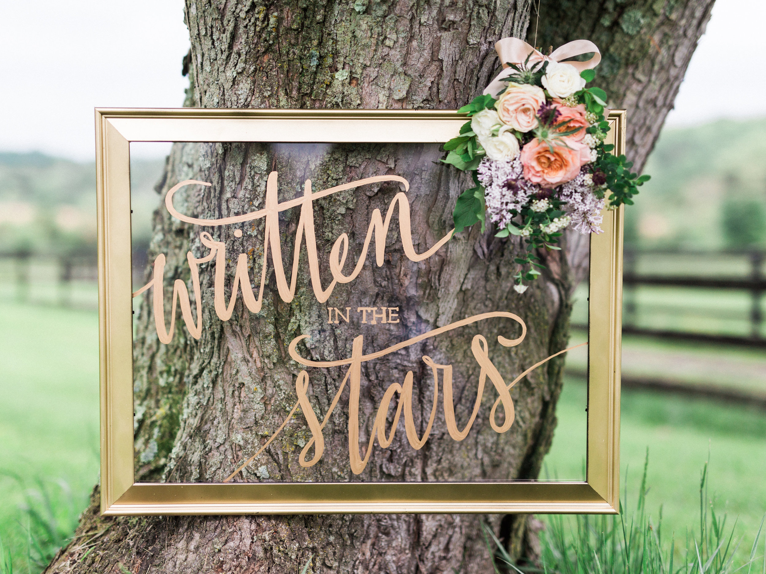 Calligraphy Wedding Sign with flowers