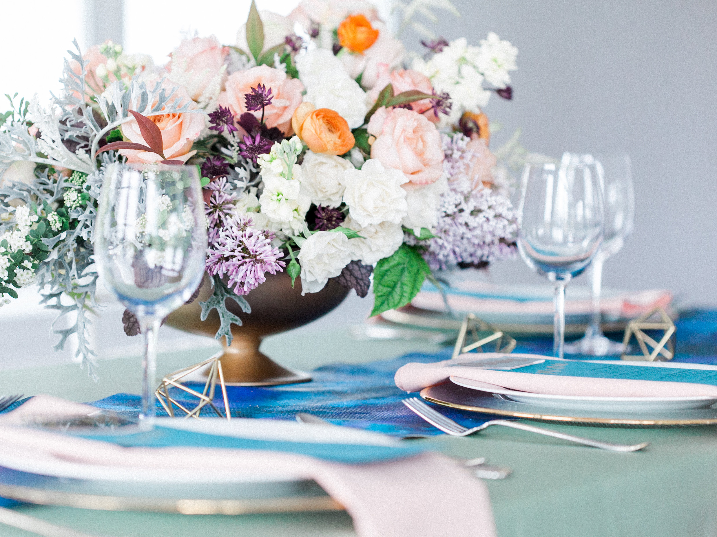 Lush Floral centerpiece for wedding at Rixey Manor