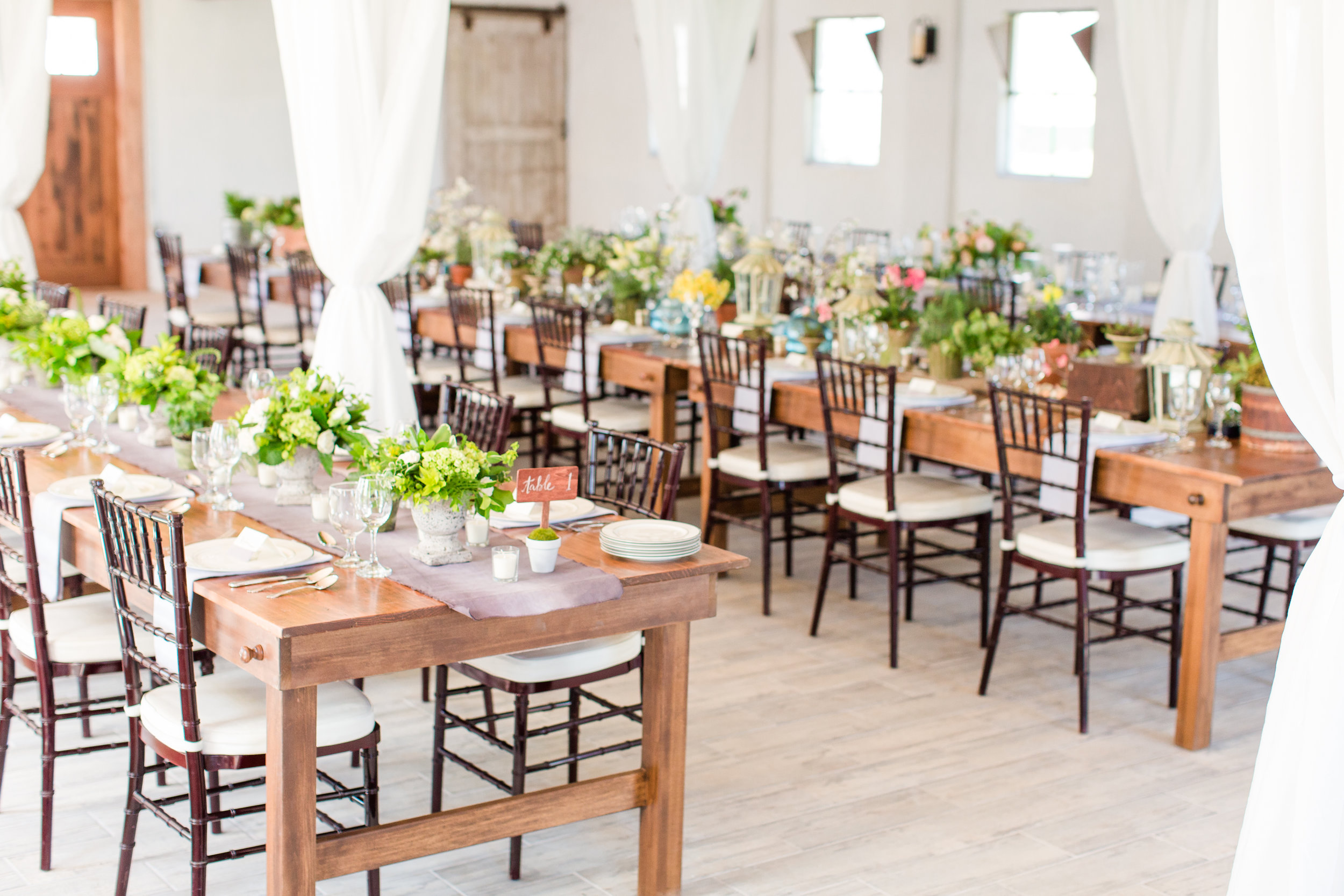 Long Table centerpieces at 48 Fields Wedding