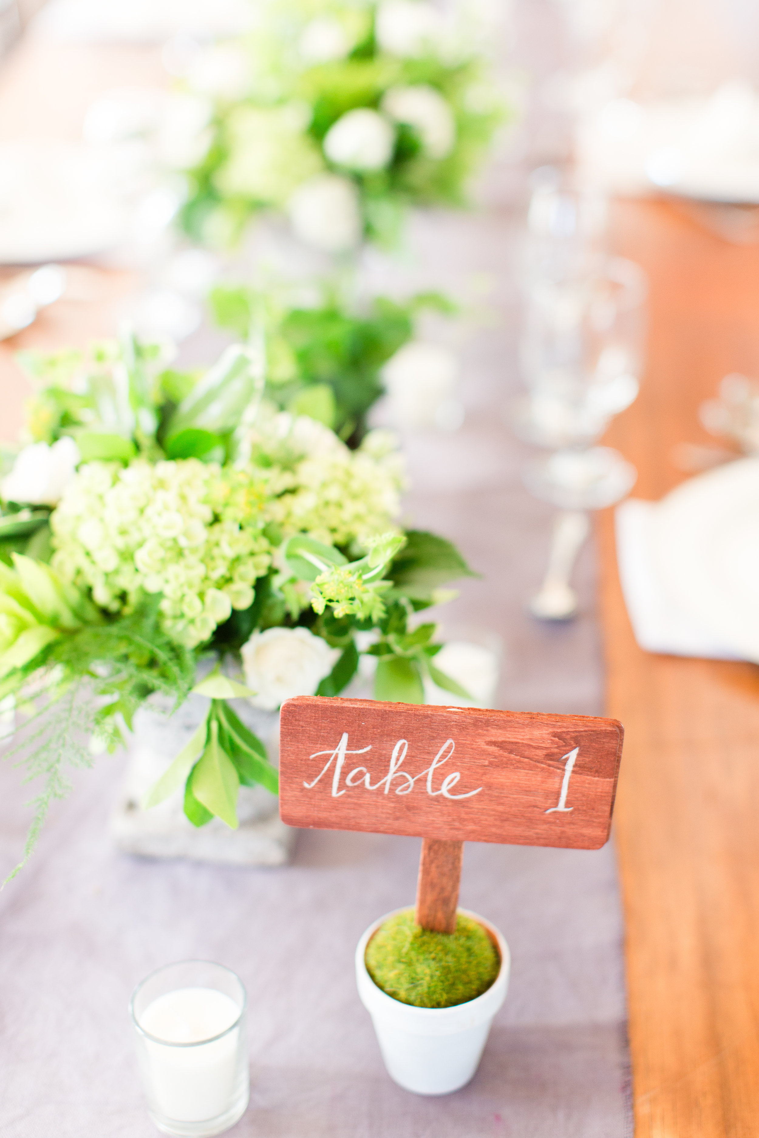Green wedding centerpiece by Lark Floral