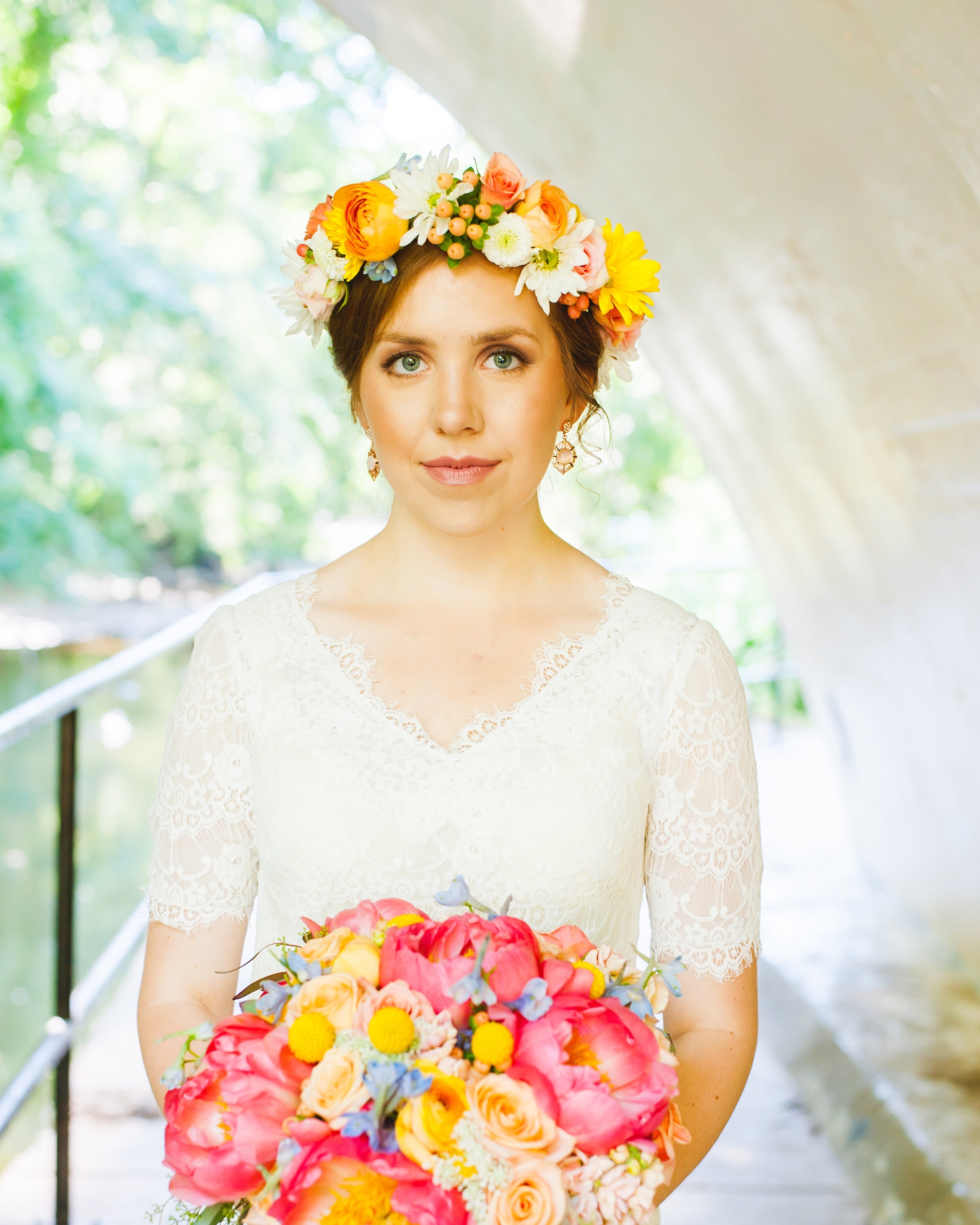 Bright happy bridal bouquet and flower crown by Lark Floral