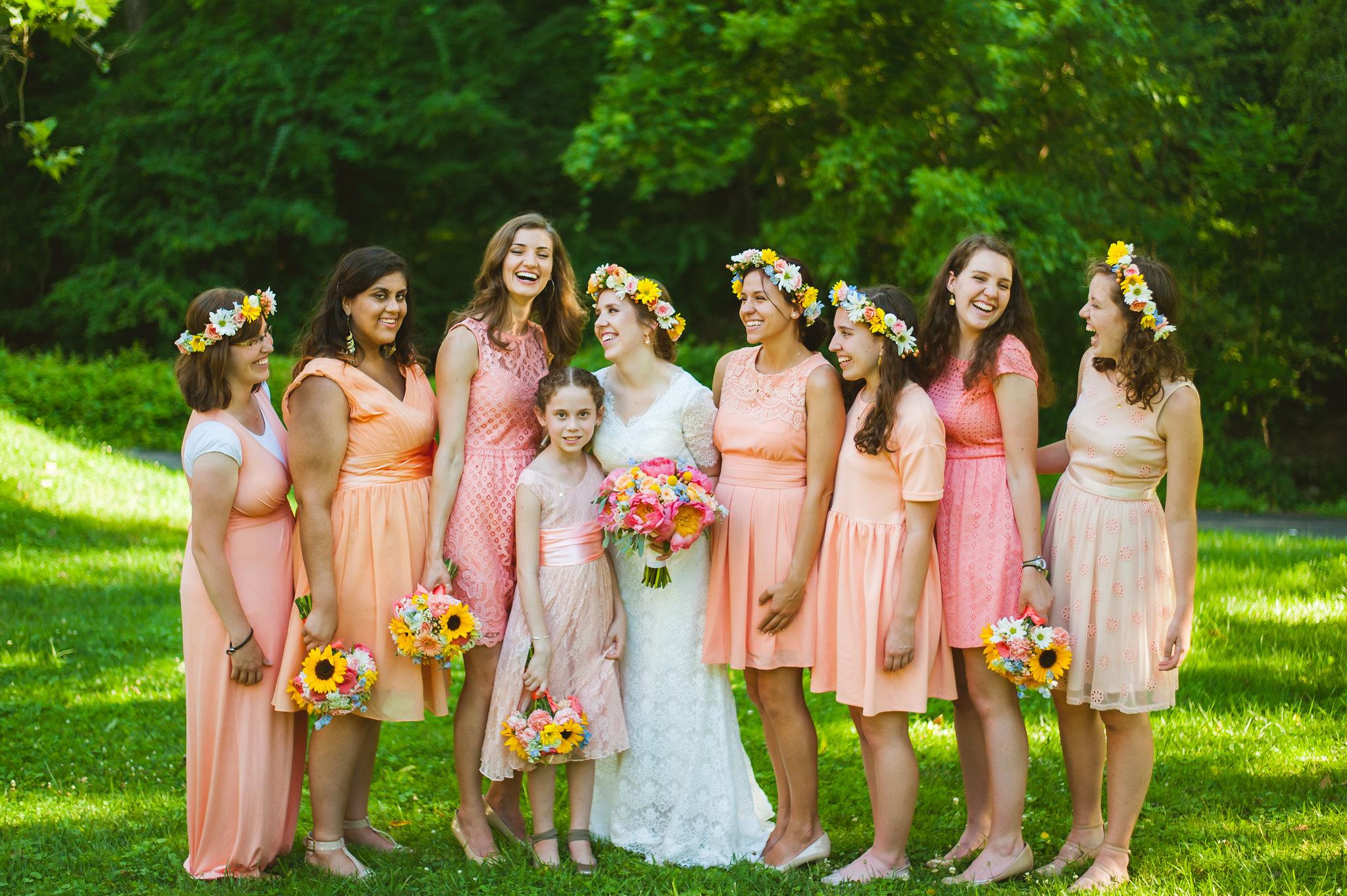 Bride and Bridesmaids Peach wedding