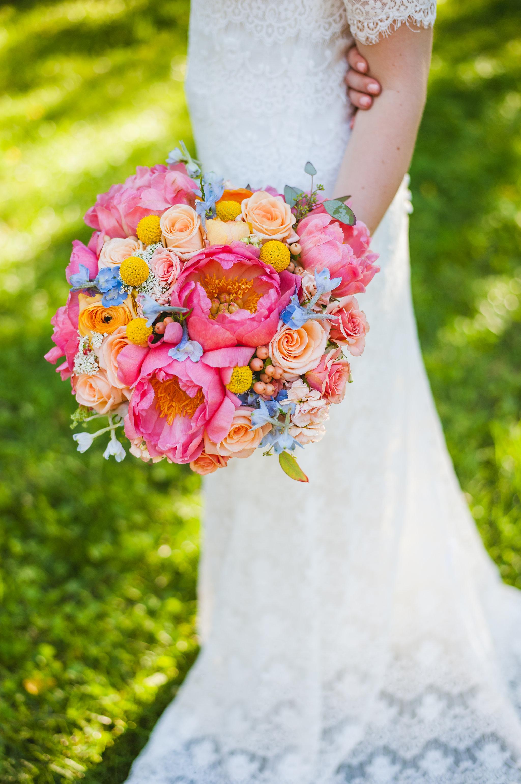 Colorful Bridal bouquet by Lark Floral