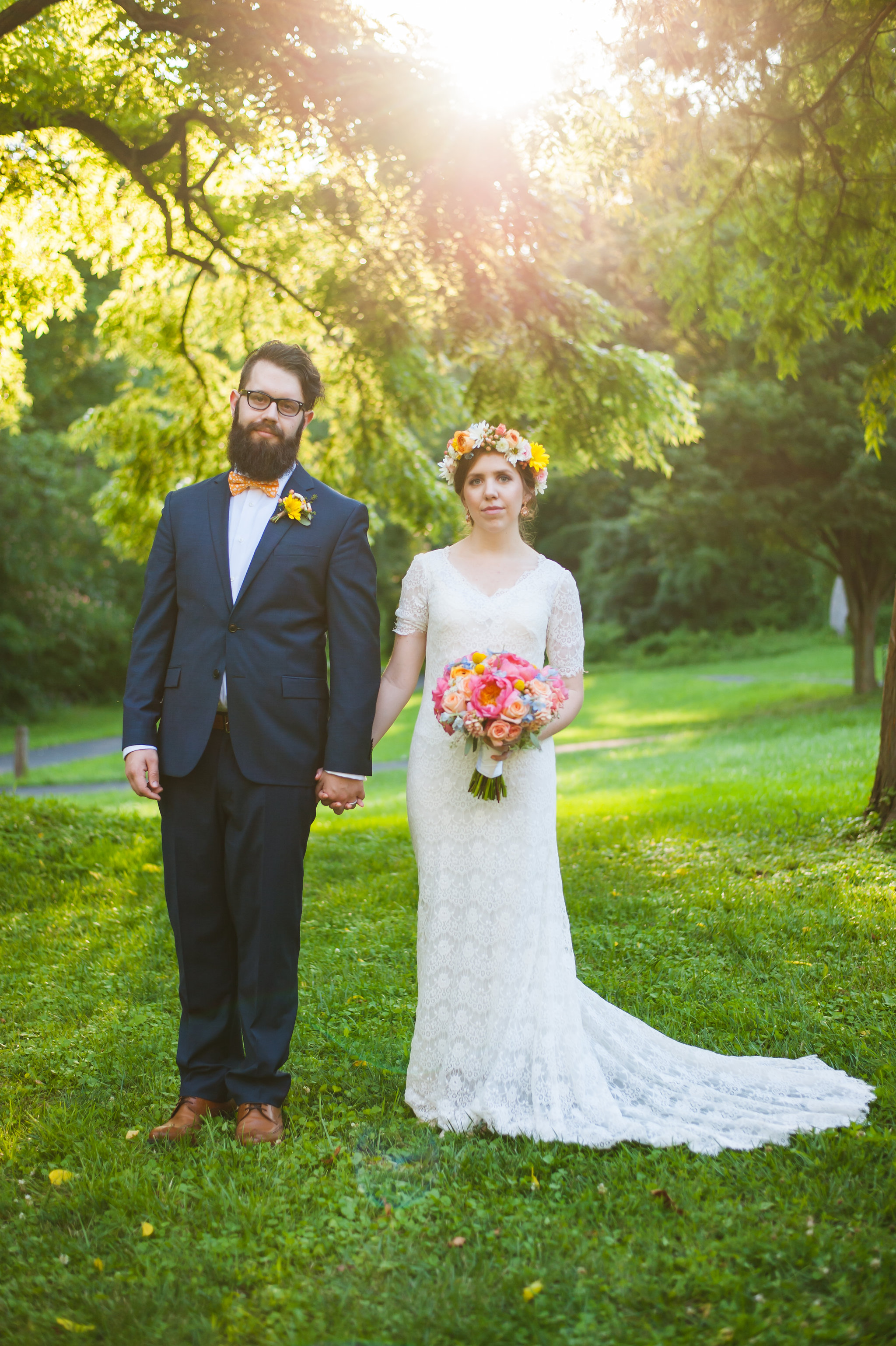 Bride and Groom portrait with peony bouquet by Lark Floral