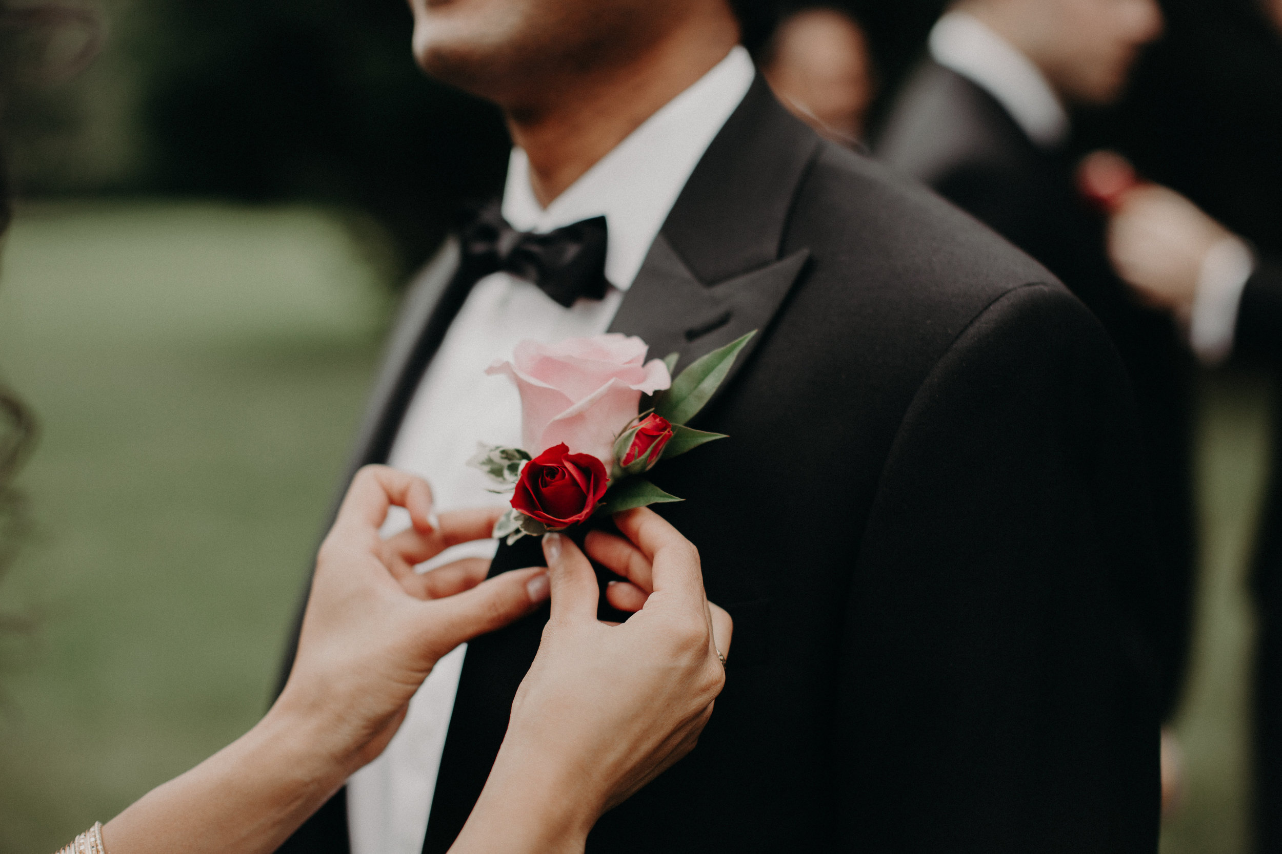 Pink and red boutonniere