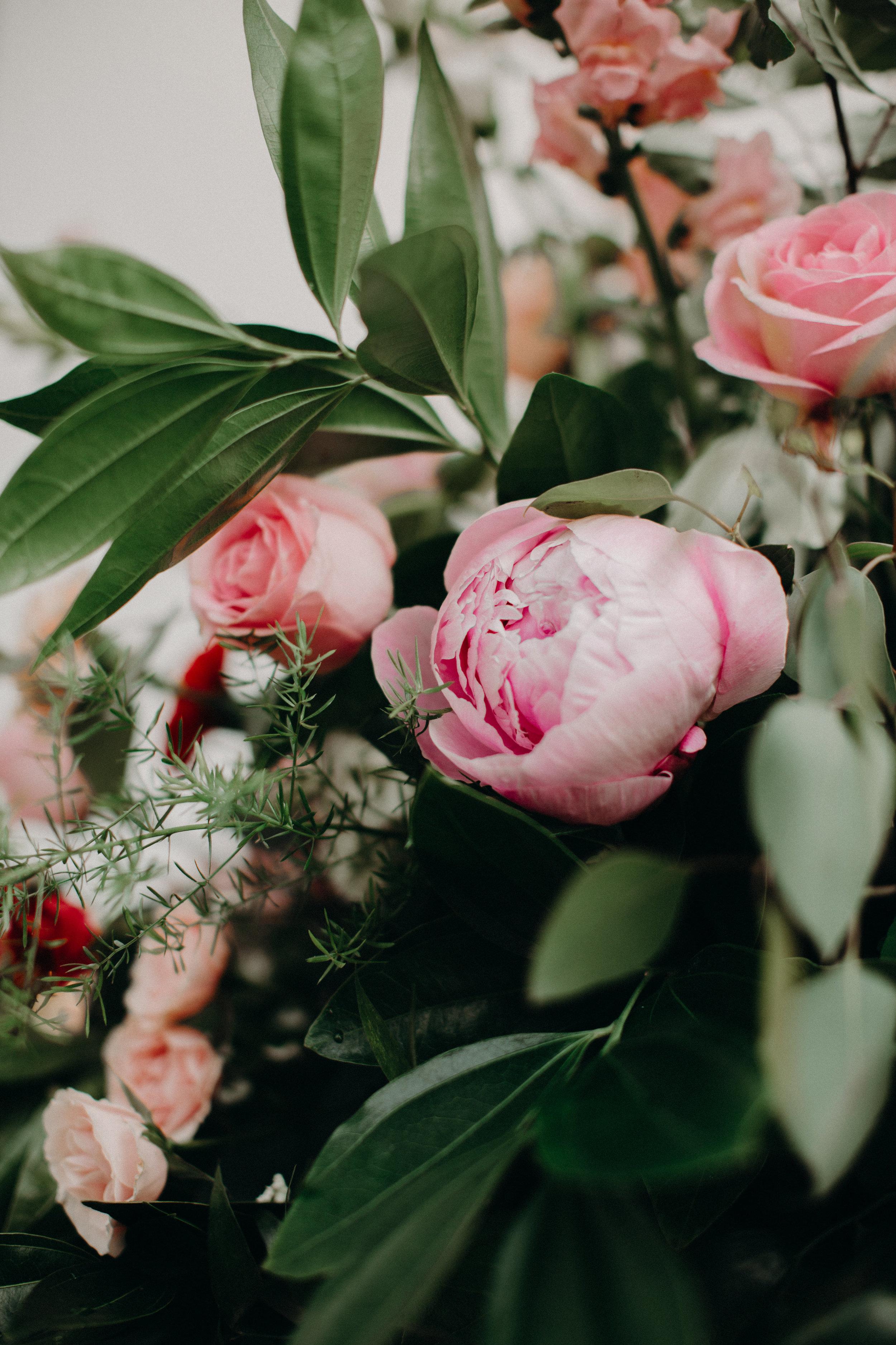 Pink garden rose arrangement by Lark Floral