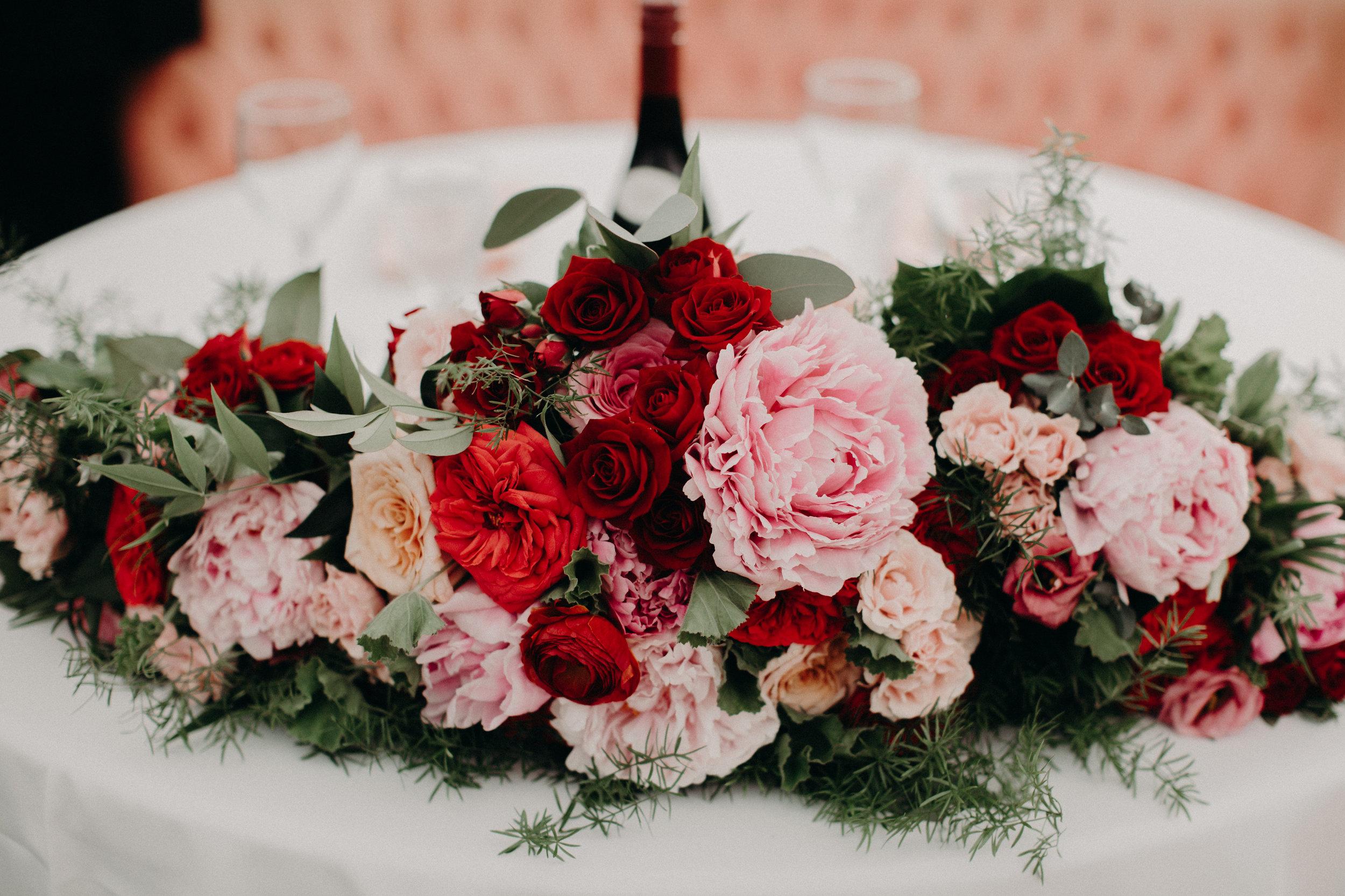 Sweetheart Table flowers