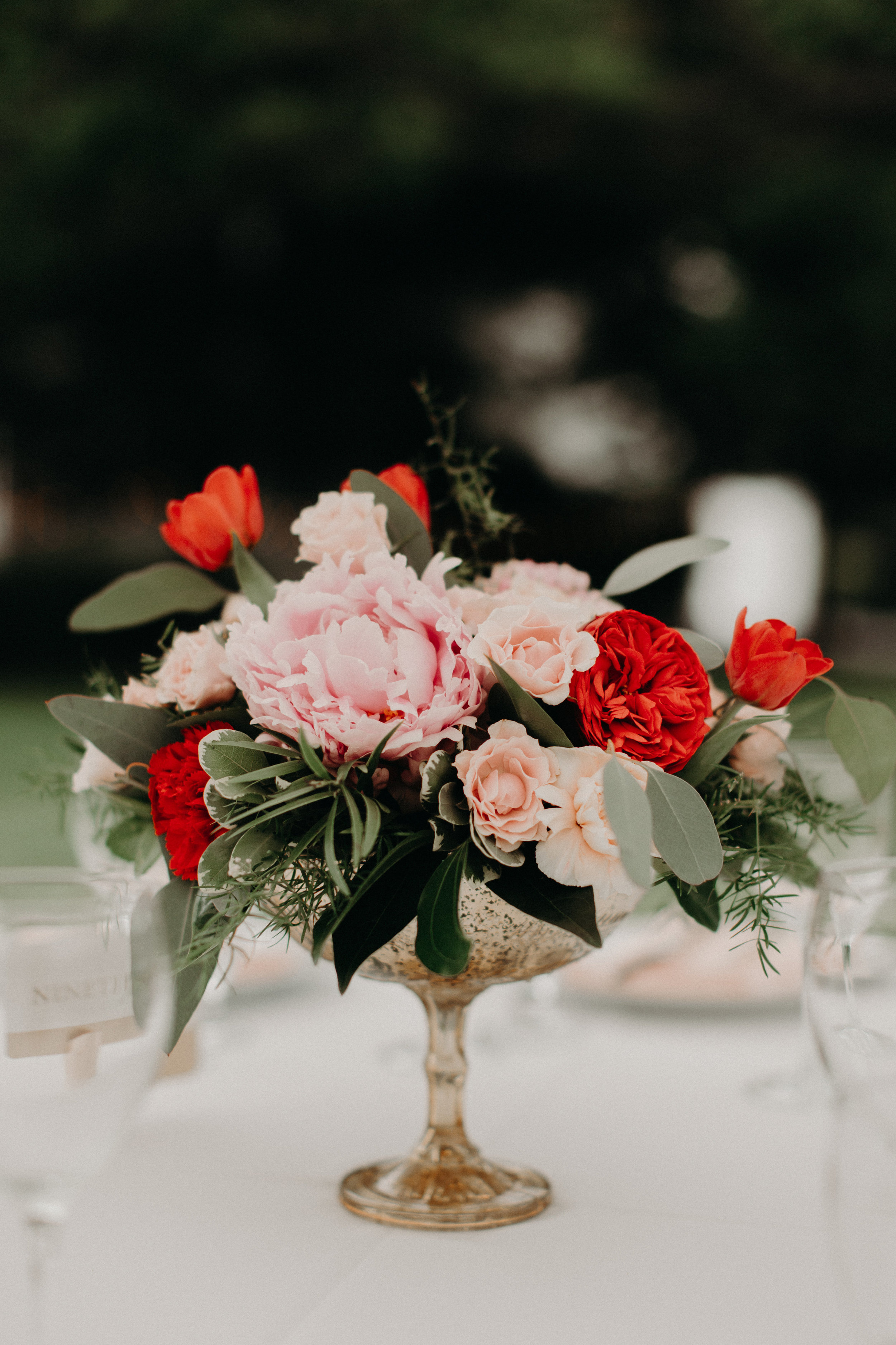 Wedding Centerpiece in gold compote by Lark Floral