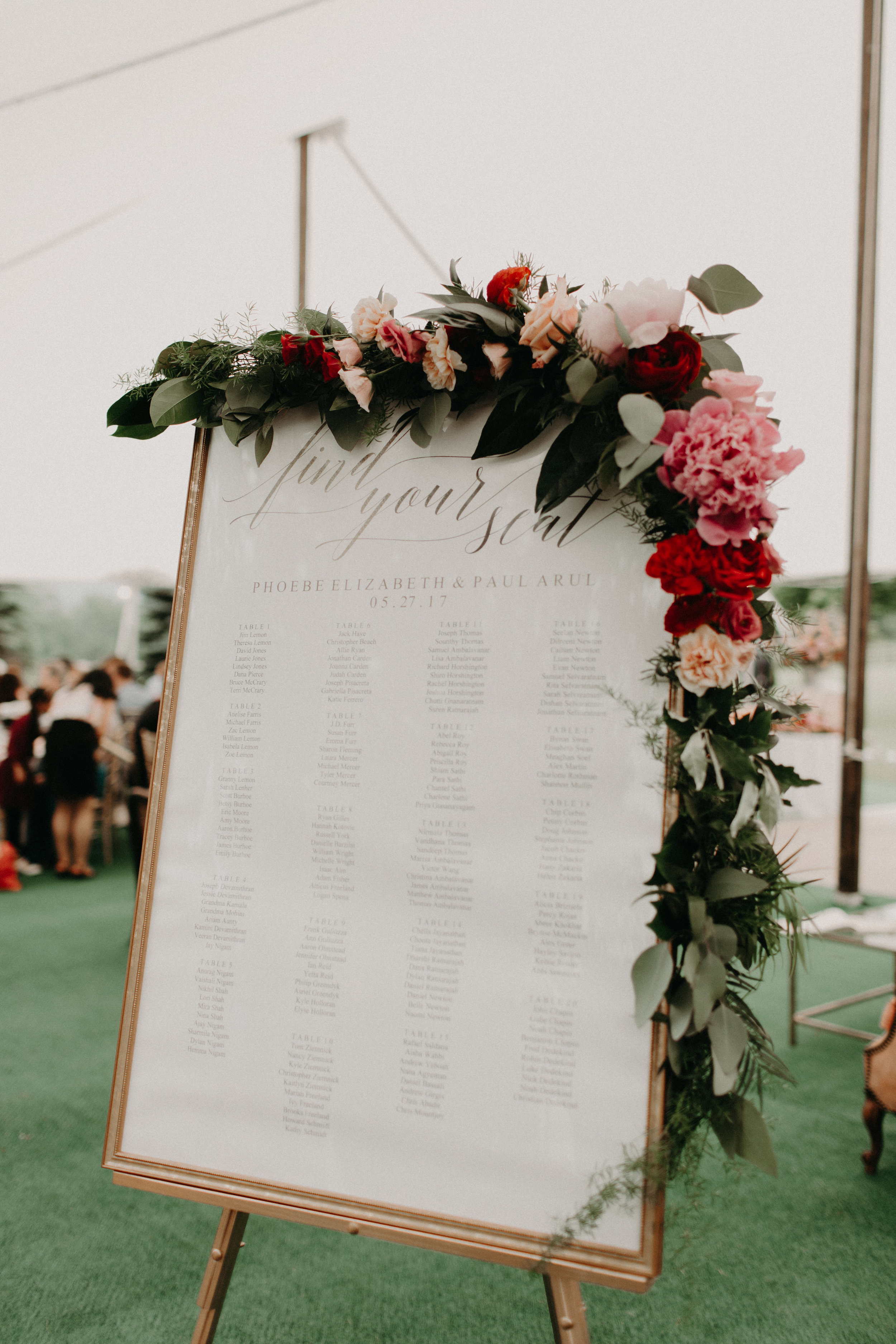 Seating Chart Flowers by Lark Floral