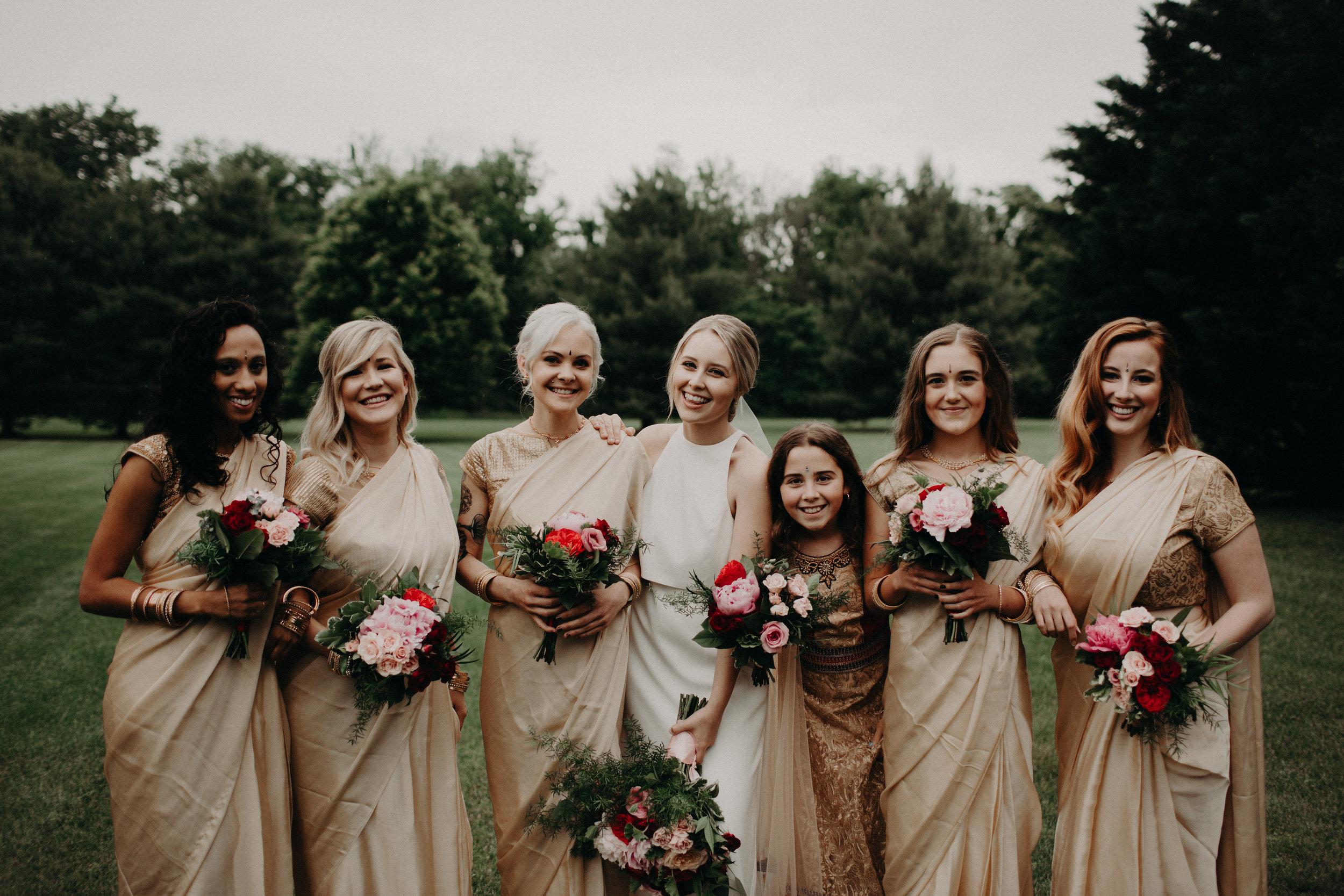 Bridesmaids wearing Sari for Indian fusion wedding