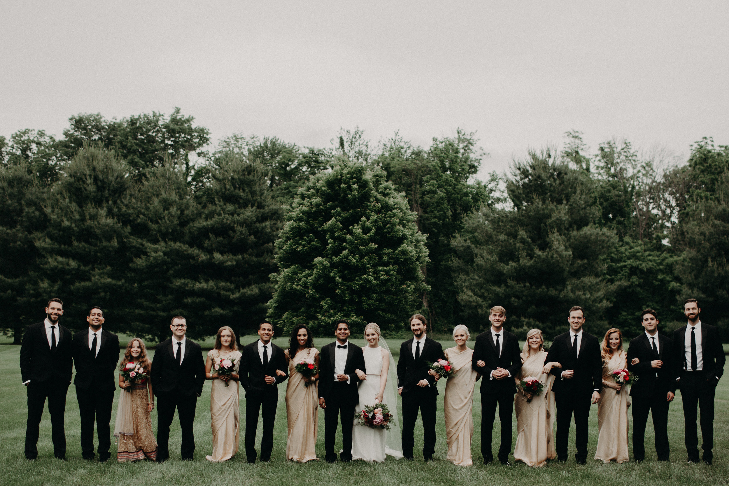Bridal party in Indian-American Fusion Wedding