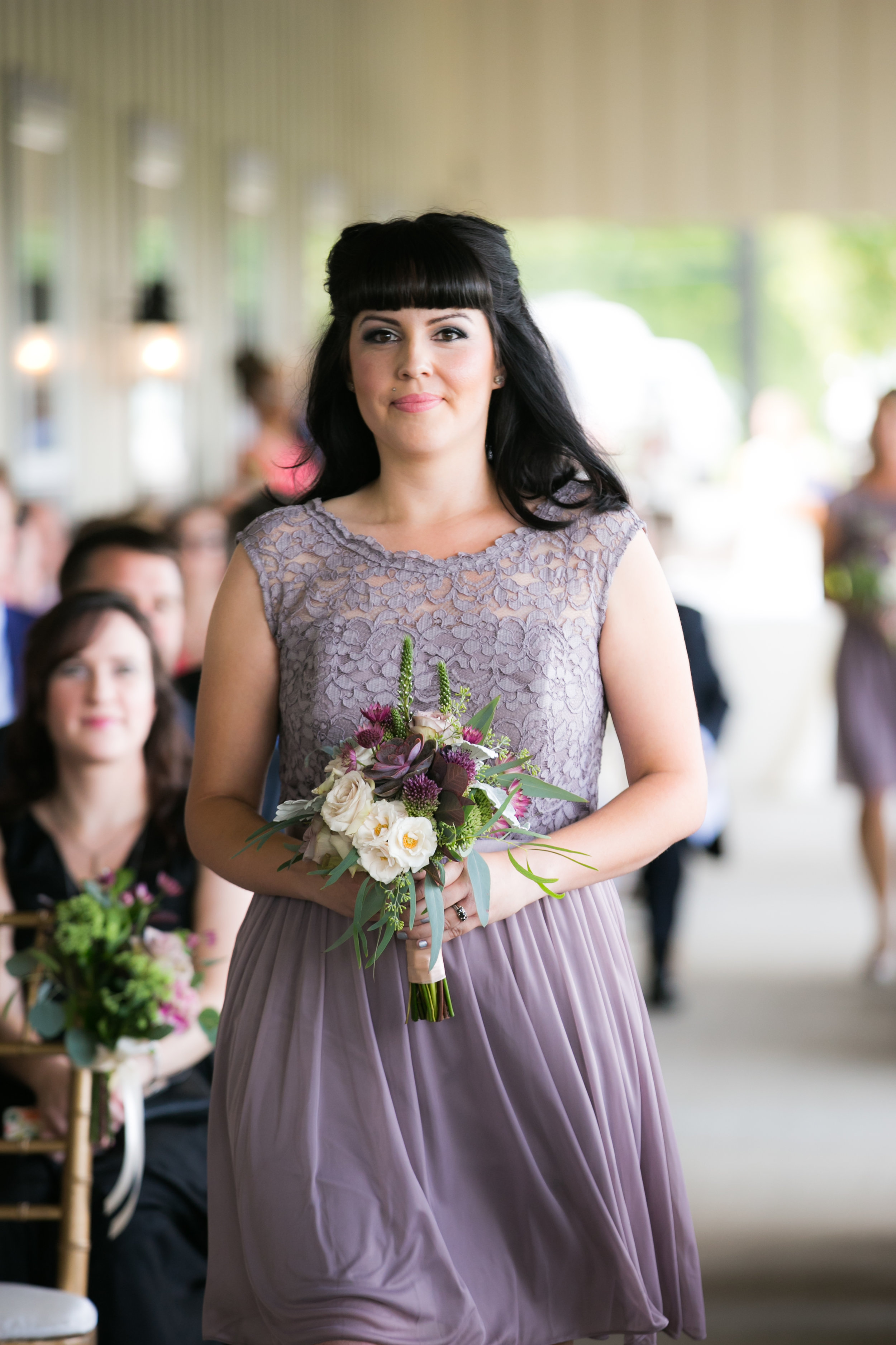 Bridesmaid in Dusty Purple Dress