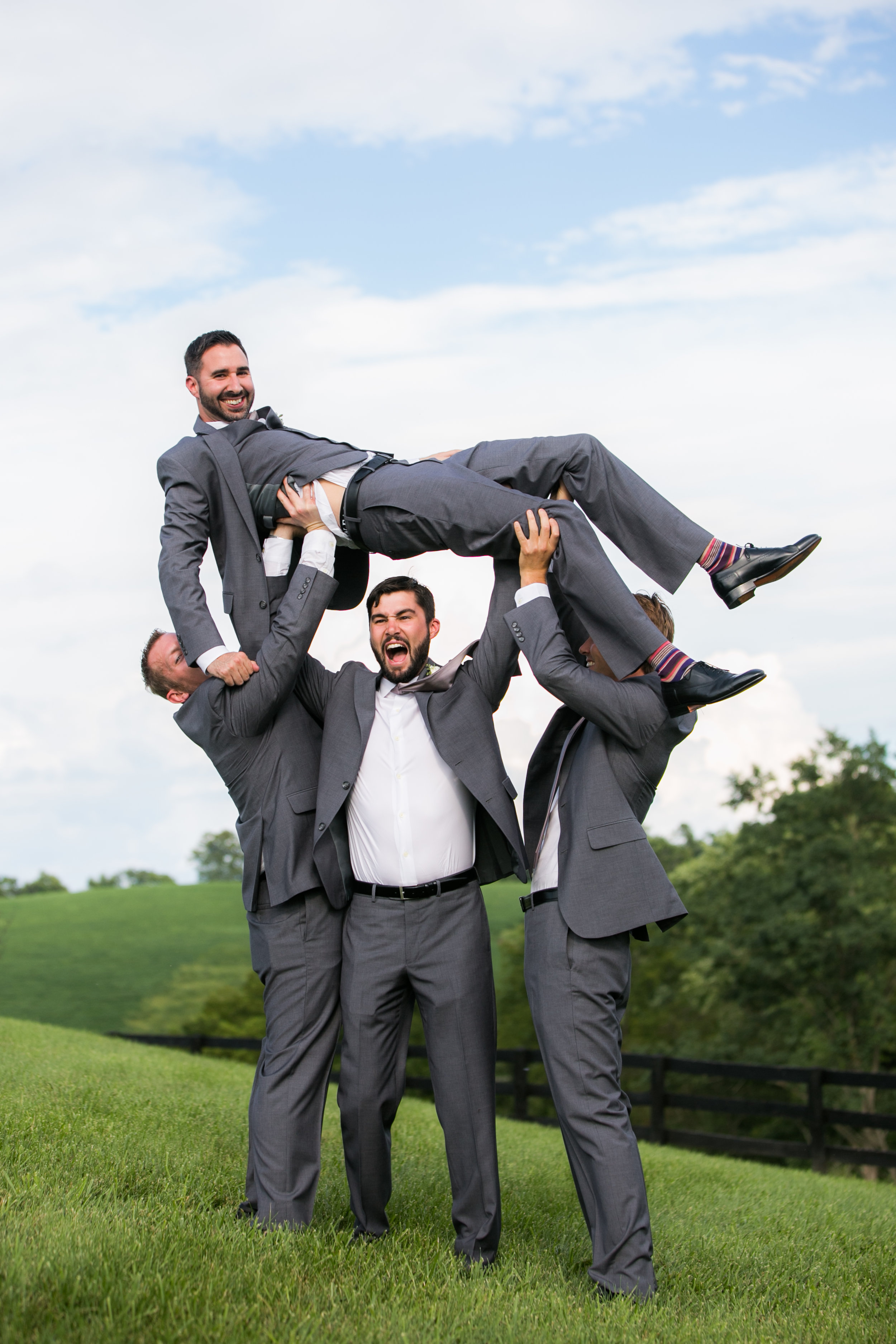Fun Groom and groomsmen portrait by Genevieve Leiper at Shadow Creek