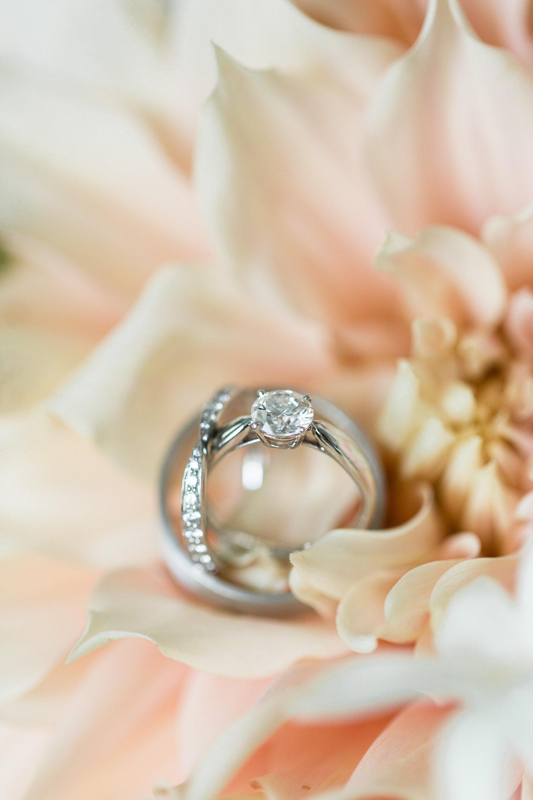 Wedding Ring detail shot at Tranquility Farm