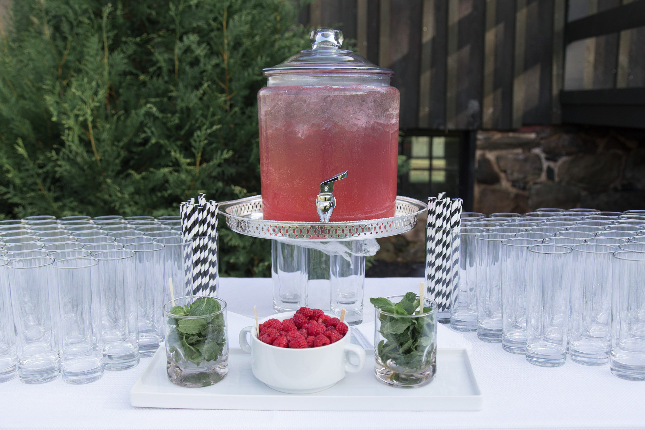 Raspberry punch for wedding at Tranquility Farm