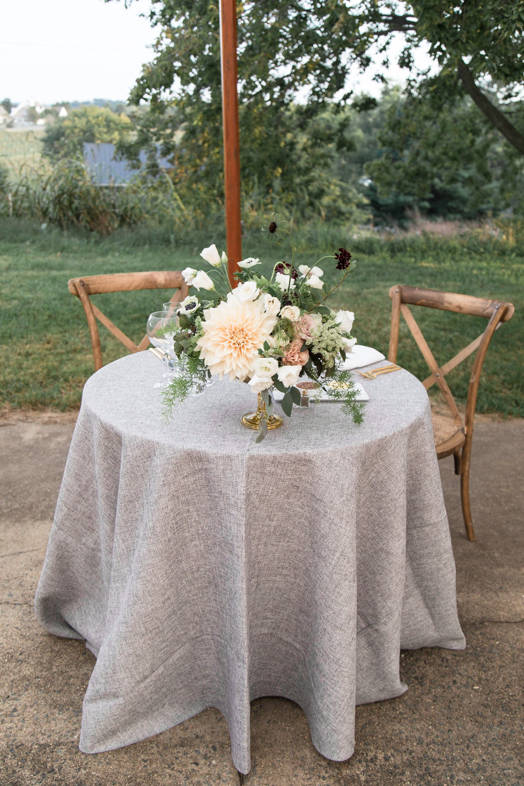 Compote centerpiece at Tranquility Farm Wedding
