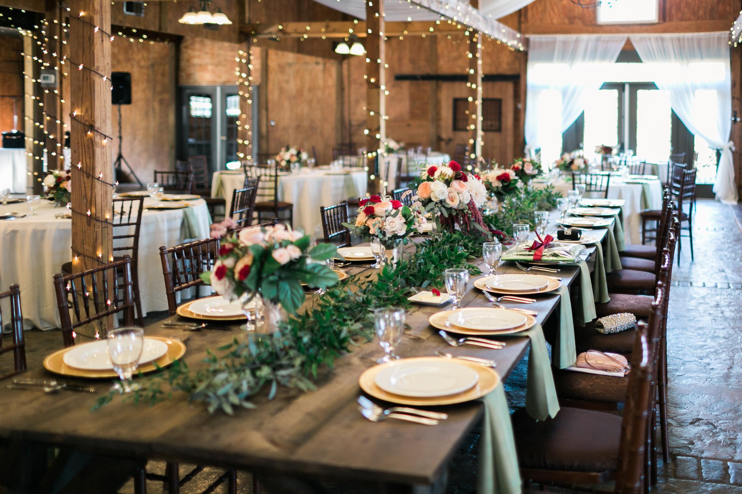 Farm Table Centerpiece at Bluemont Vineyard Wedding