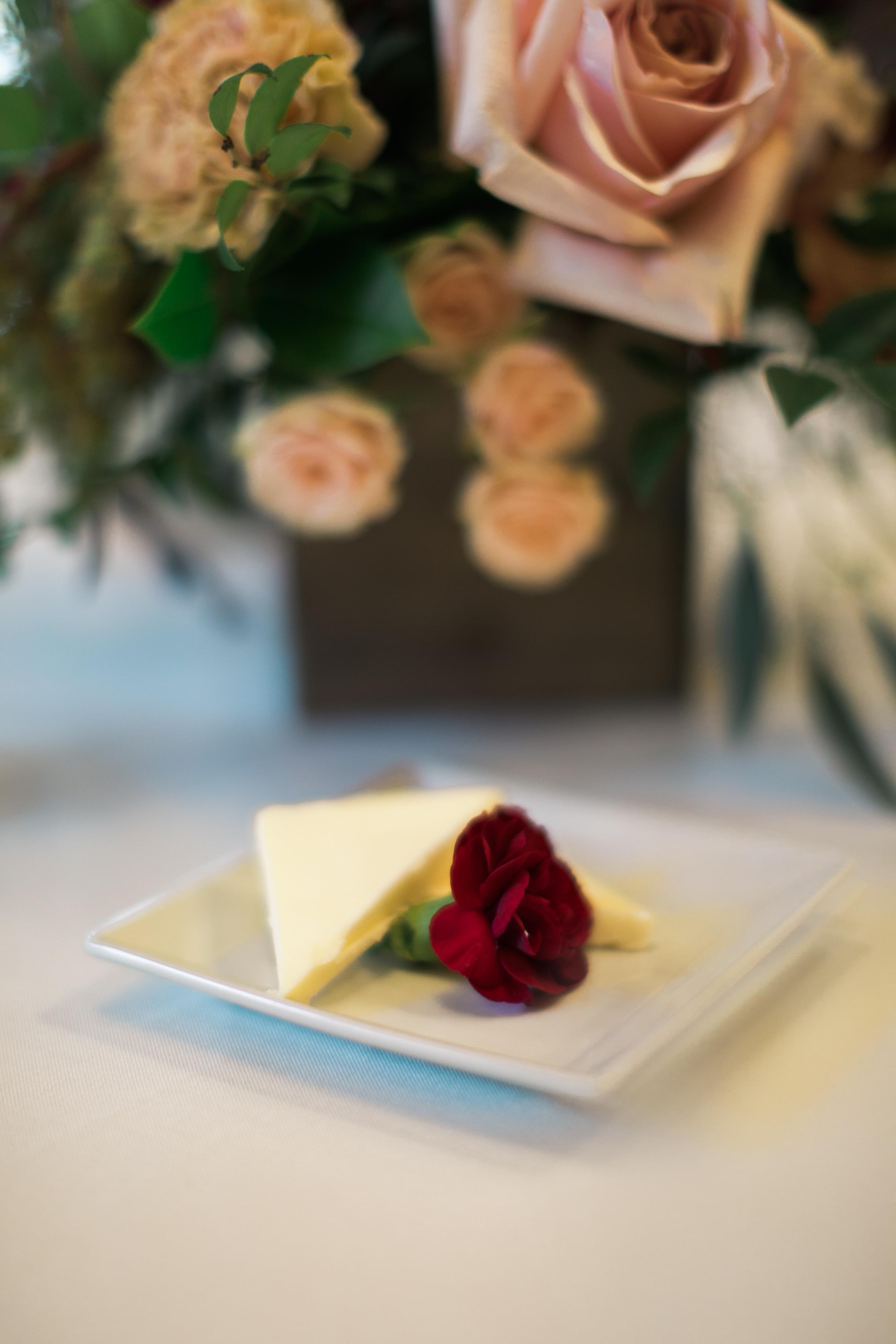 flower on butter plate