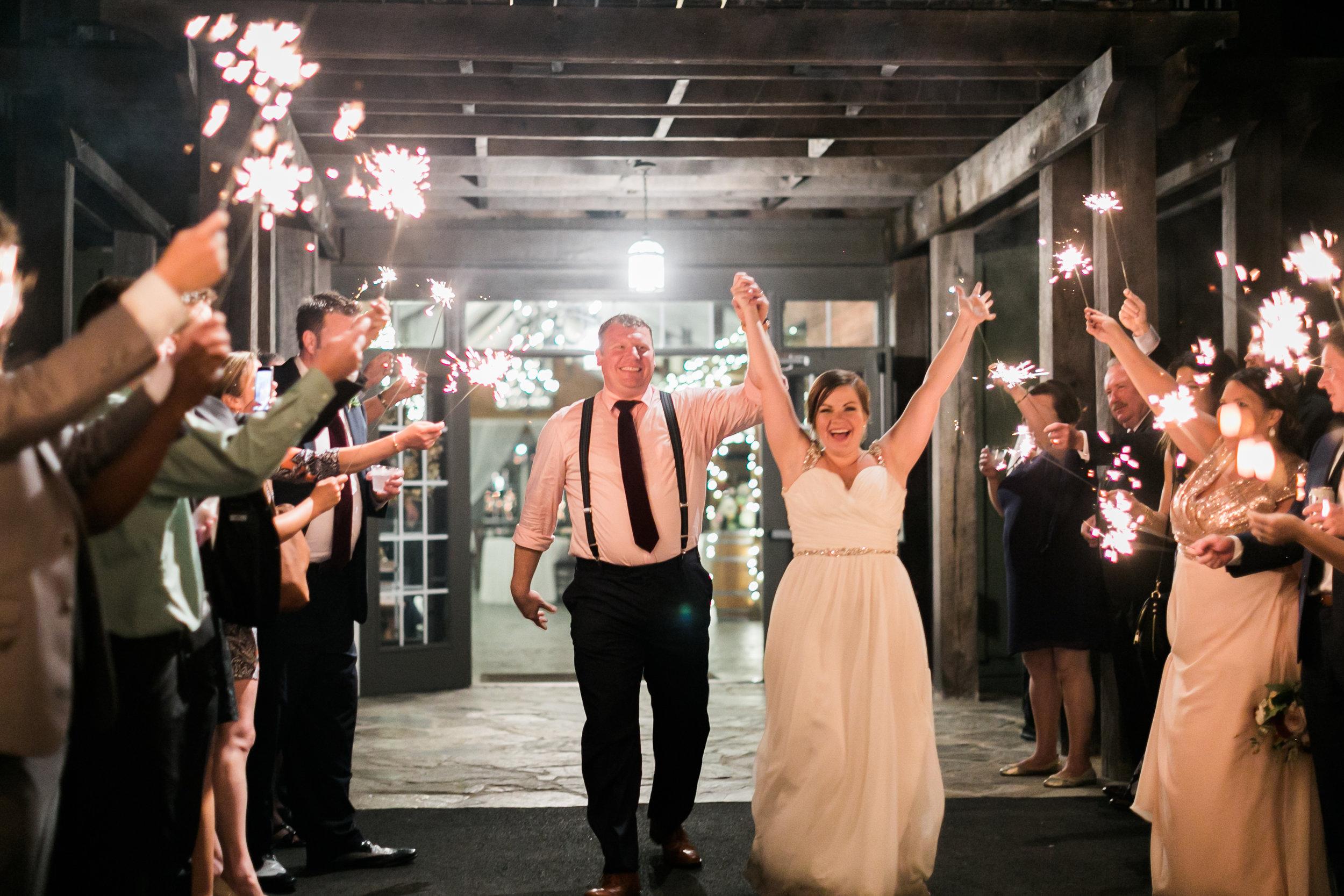 Sparkler exit at Bluemont Vineyard Wedding