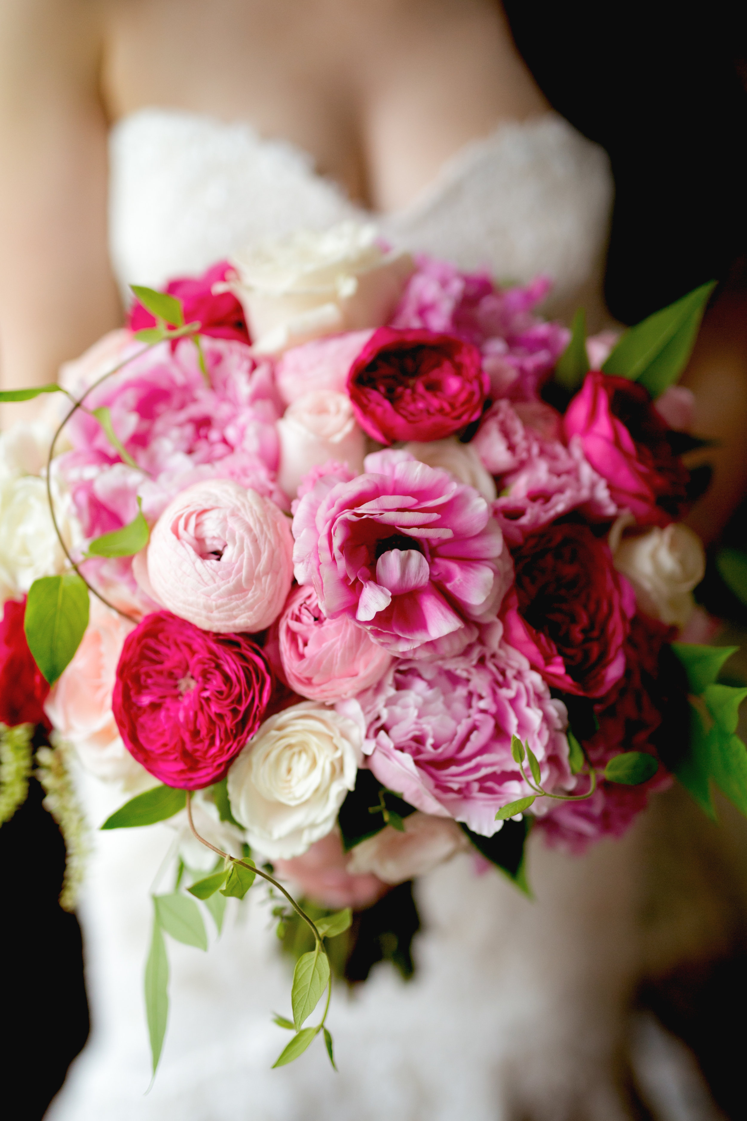 Bridal bouquet in shades of pink by Lark Floral