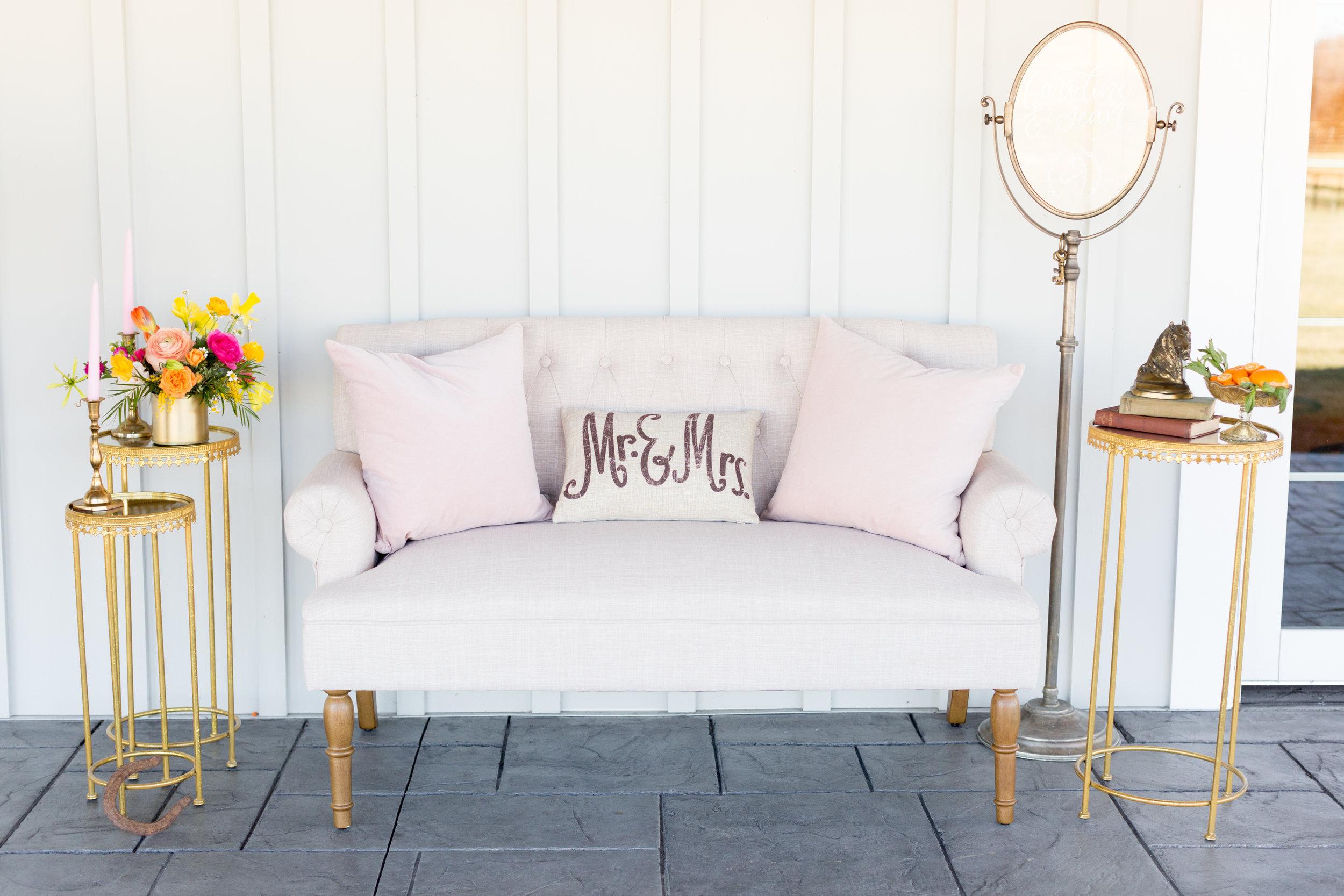 Vintage furniture rental for middleburg wedding