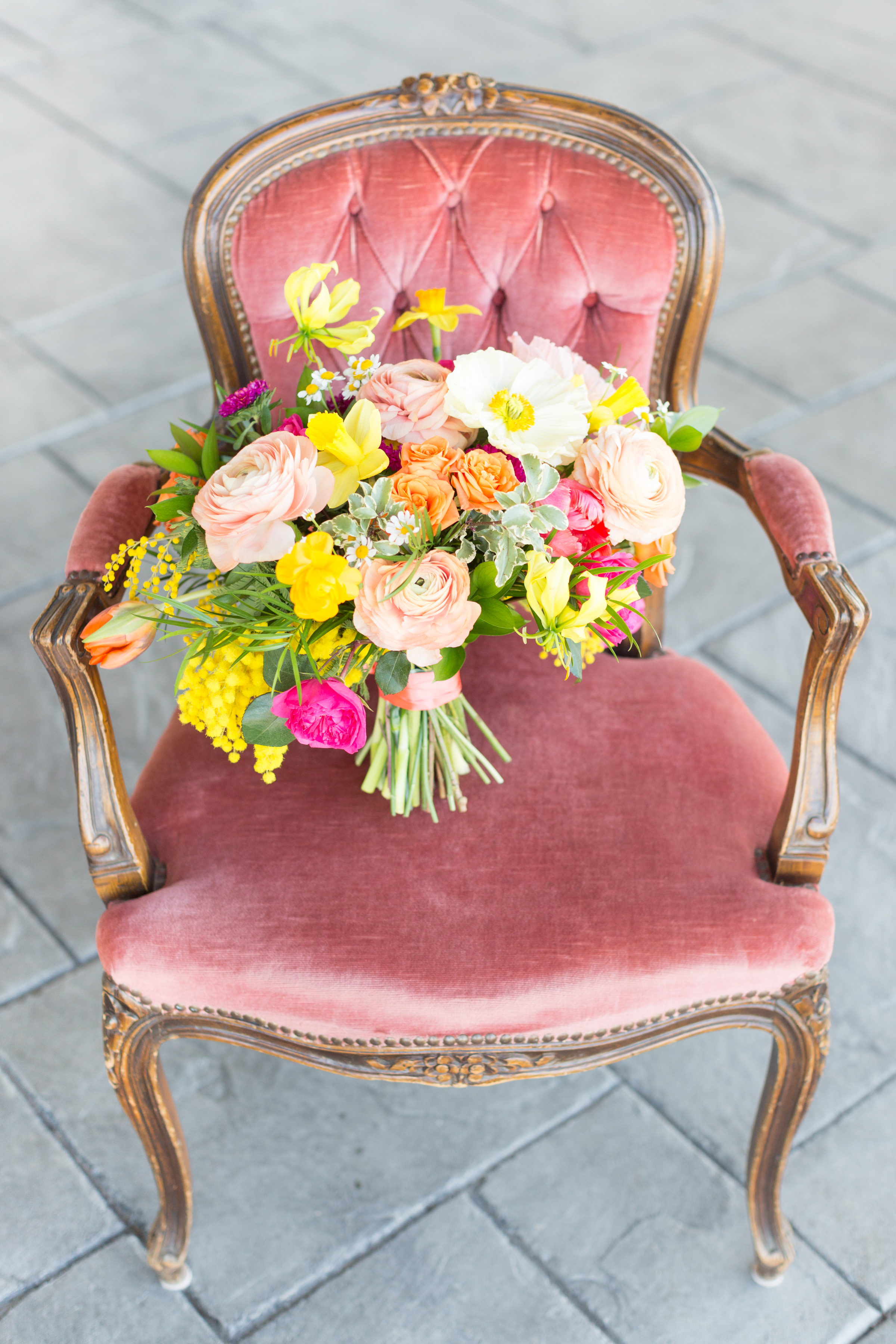 Bouquet on vintage chair