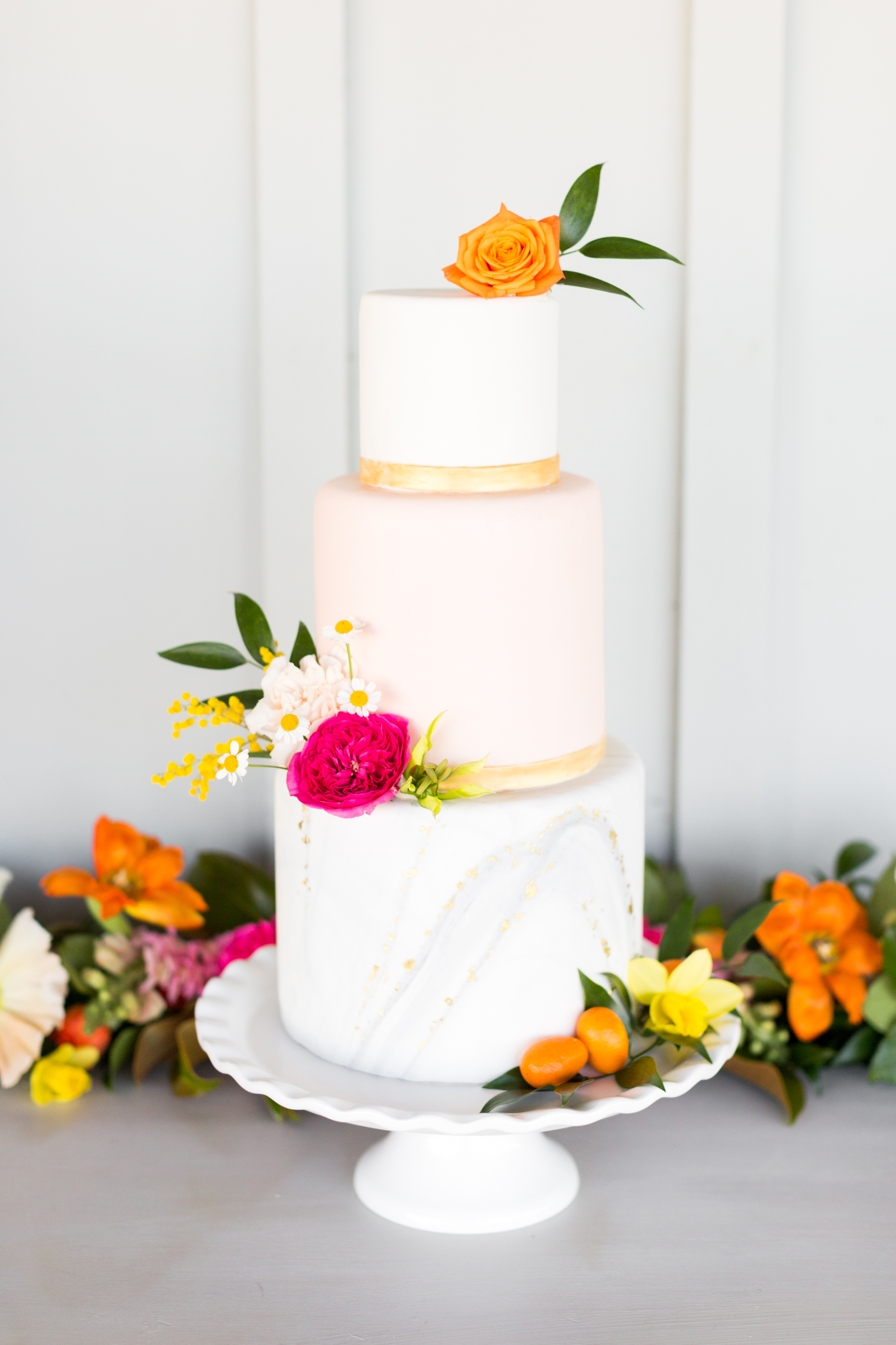 Wedding cake with citrus accents at the Middleburg Barn