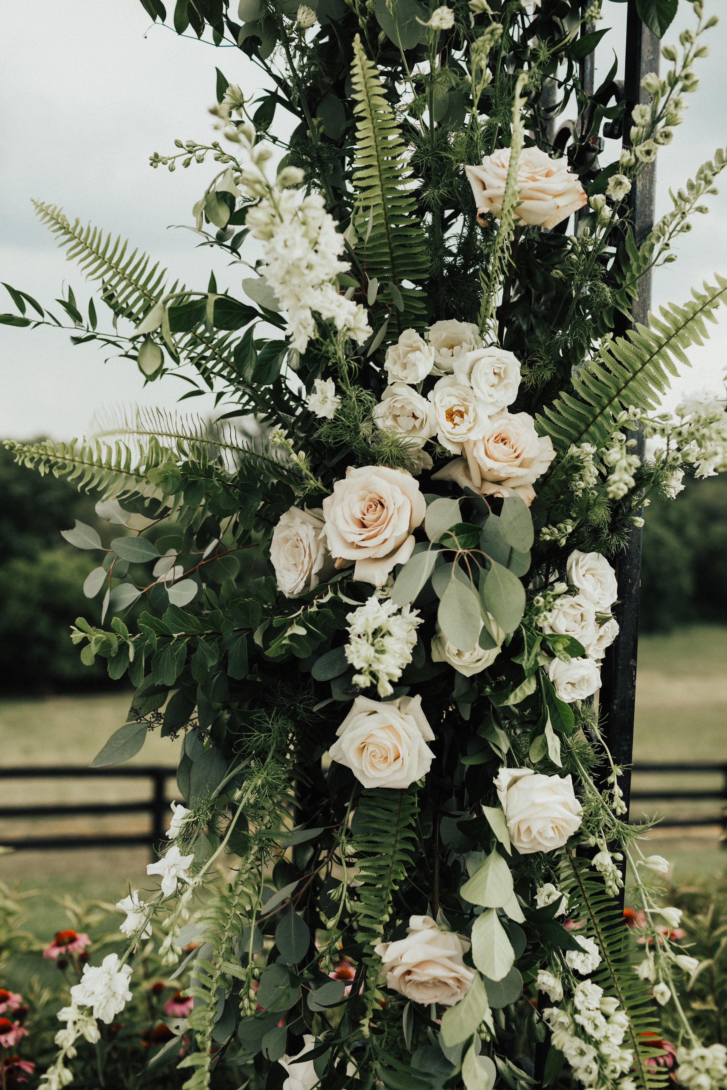 Close up of ceremony arch flowers