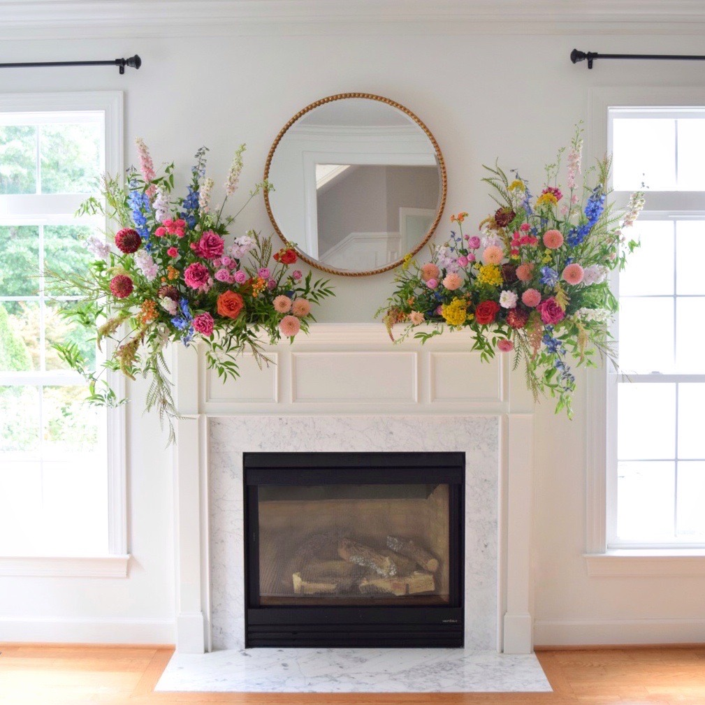 American Grown Flowers Mantel Flowers designed by Lark Floral Leesburg VA