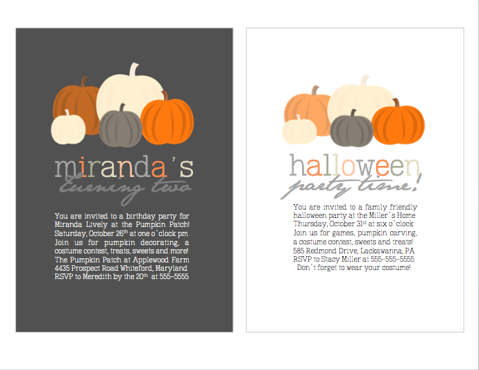 Young Tradition Studio - Pumpkin Theme Invitations