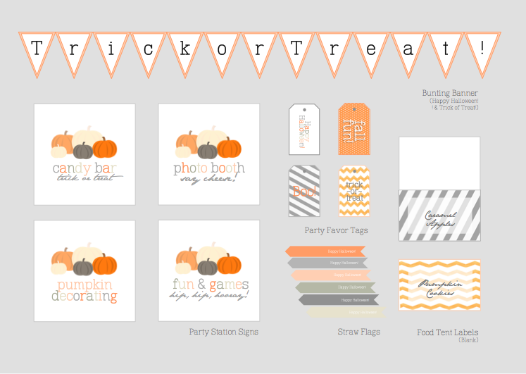 Young Tradition Studio - Pumpkin Theme Printable Party Kit (Instant Download)