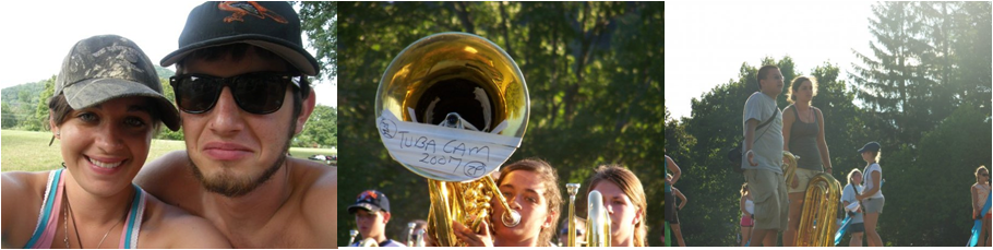 """Left to right: Anthony and I at band camp during the summer of '07, The """"Tuba-Cam"""" (which became a hilarious video shared at movie night on the last day of camp), Me and Ryan Listbeing all """"WTF??"""" (probably because it was 8 million degrees outside and the directors had just asked us to do the same set for the 99th time in a row)"""