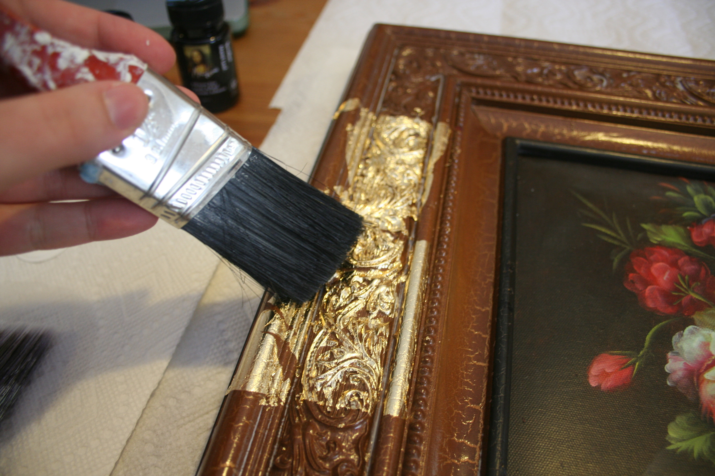 How to use gold leaf to upgrade thrift store art! This easy DIY project can be done in one afternoon and will add a touch of luxury to your home! See the full tutorial at Stevie Storck Design Co.!
