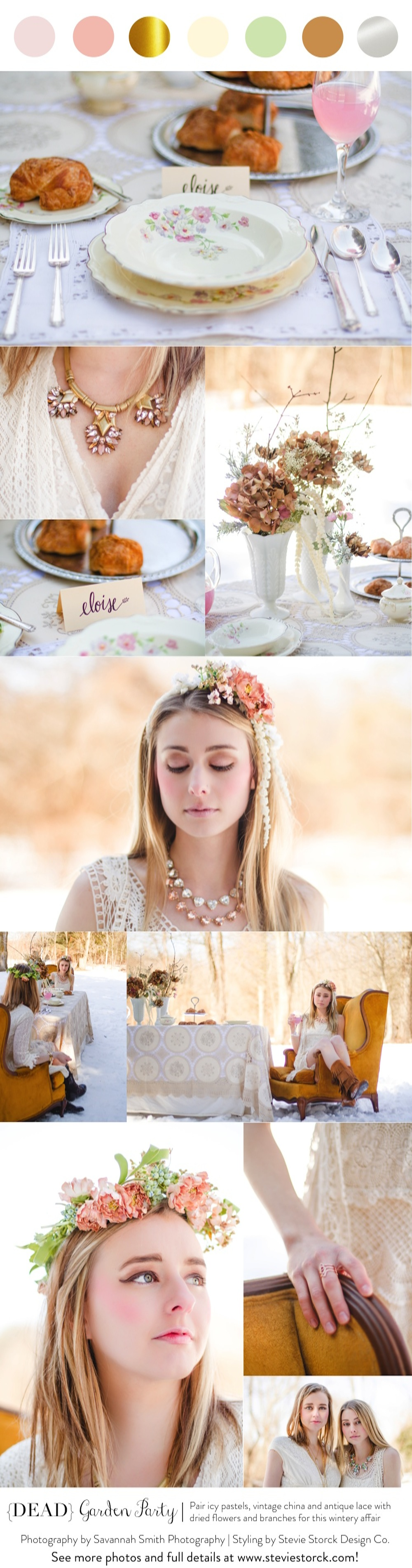 {Dead} Garden Party - Pair icy pastels, vintage china and antique lace with dried flowers and branches for this wintery affair! #blush #gold #green #vintage #lace #winter #gardenparty #tablescape #flowercrown #statementnecklace
