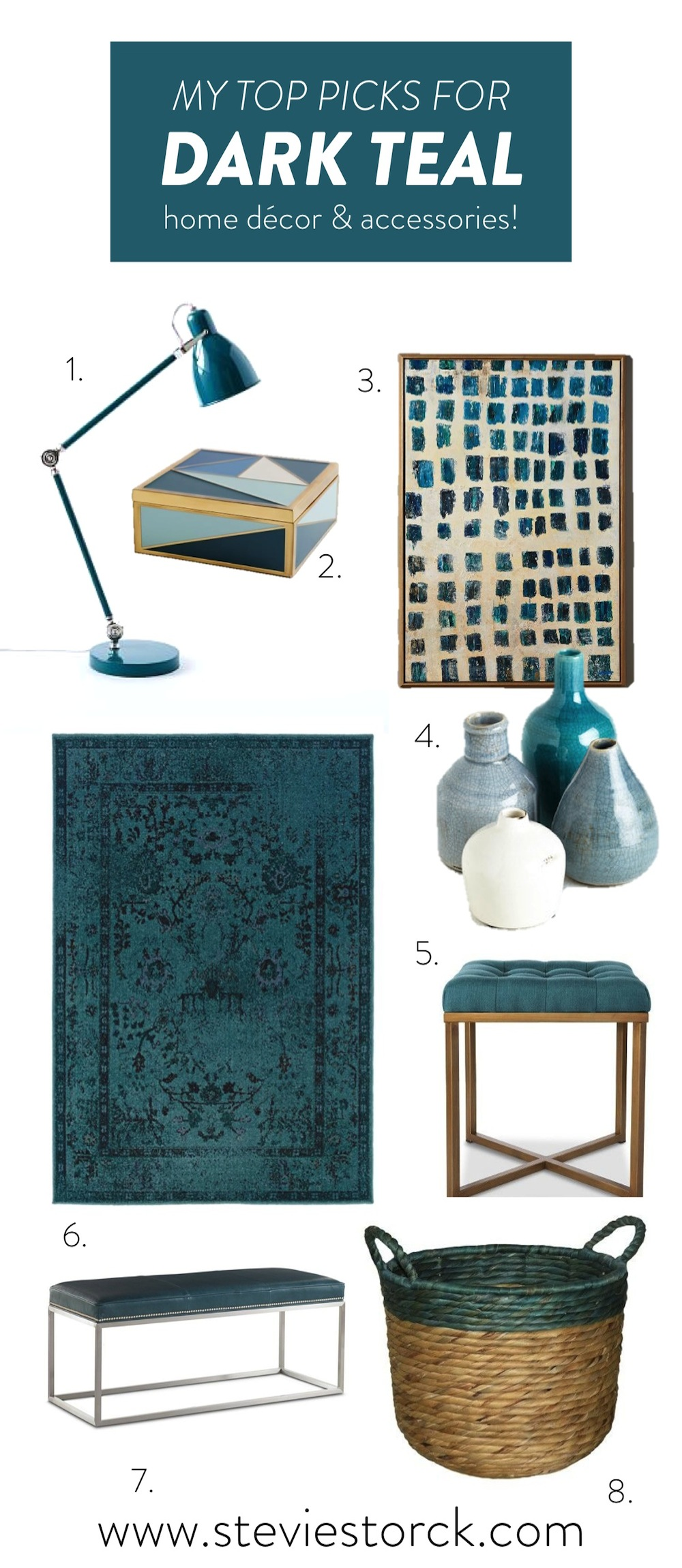 Dark Teal Home Decor Inspiration Roundup, West Elm, Anthropologie, One Kings Lane, Target, ModCloth