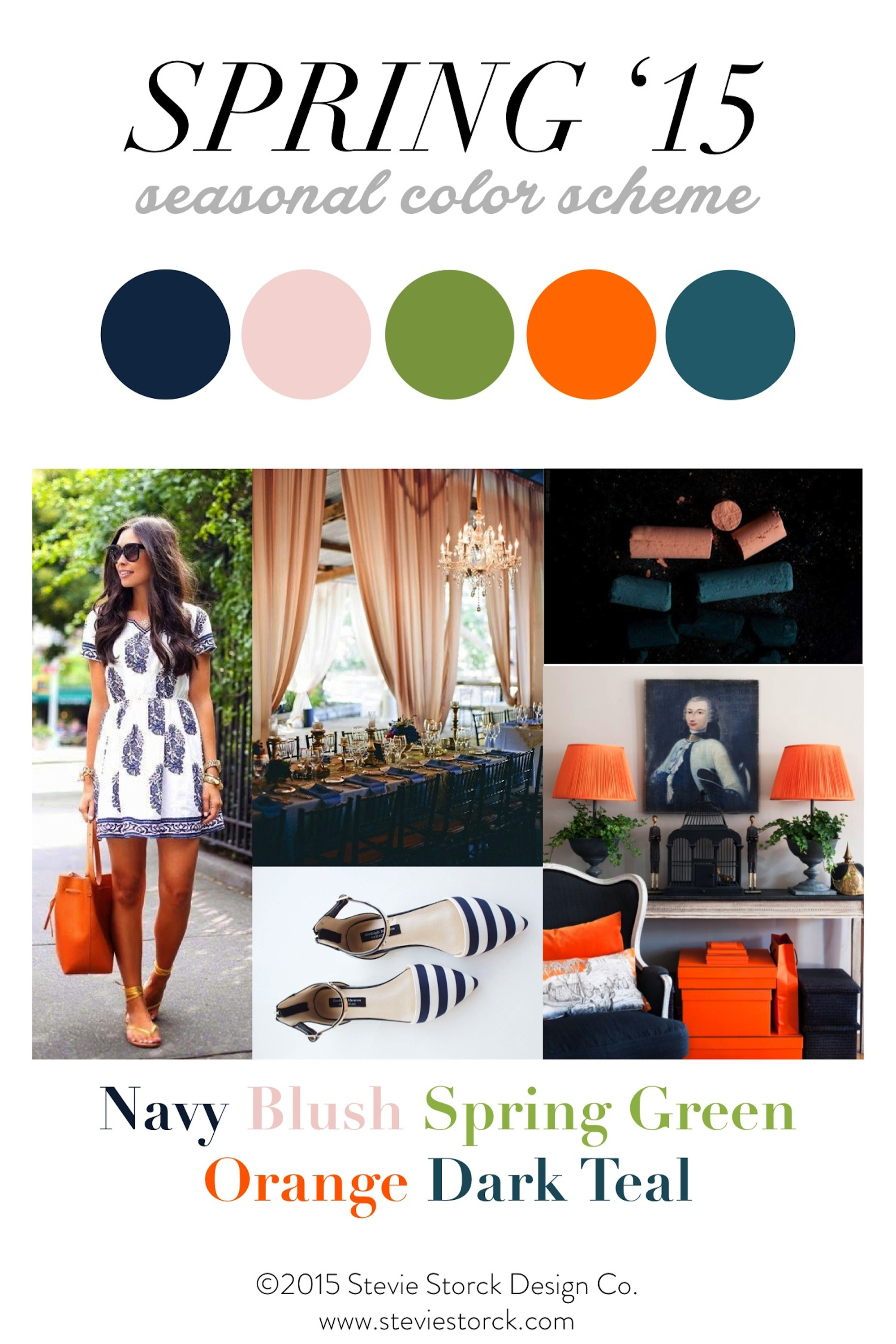 Spring Color Inspiration : Navy, Blush, Spring Green, Orange and Dark Teal - Stevie Storck Design Co.