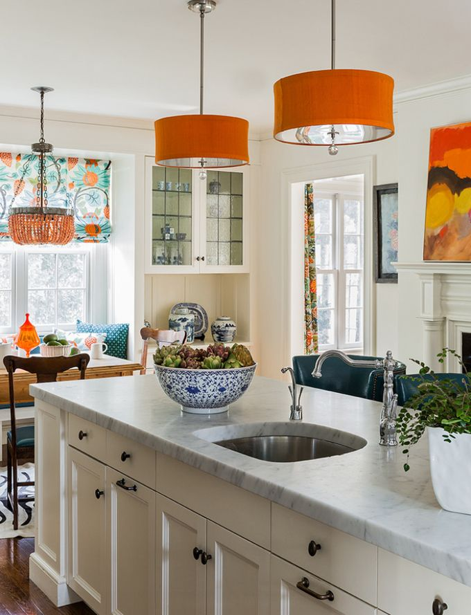 Navy and orange kitchen