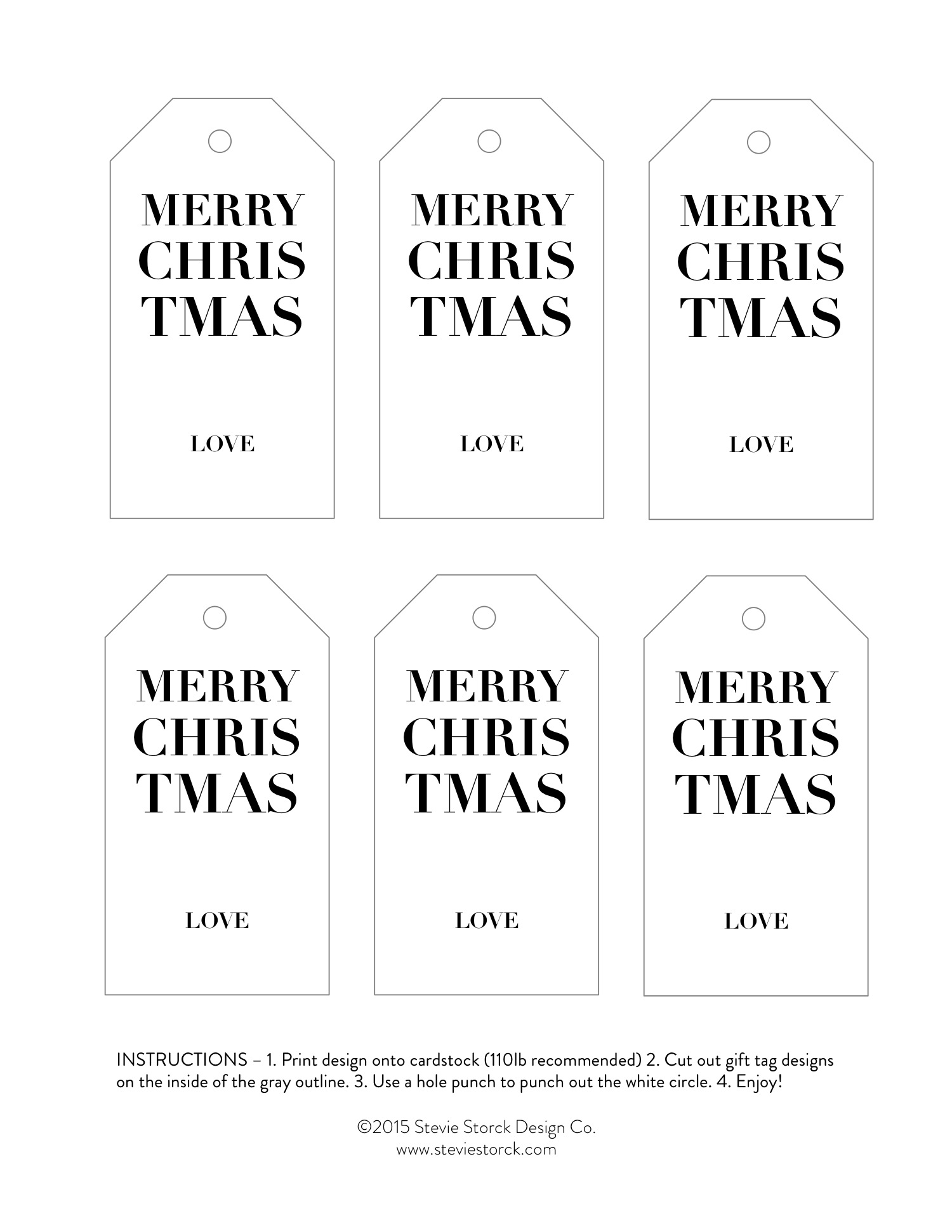 Free Printable Christmas Gift Tag Design from Stevie Storck Design Co. Minimal, chic & festive!